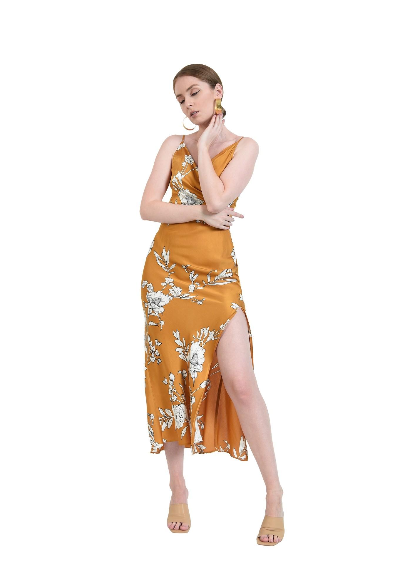 rochie mustar, cu motive florale, cu bretele subtiri