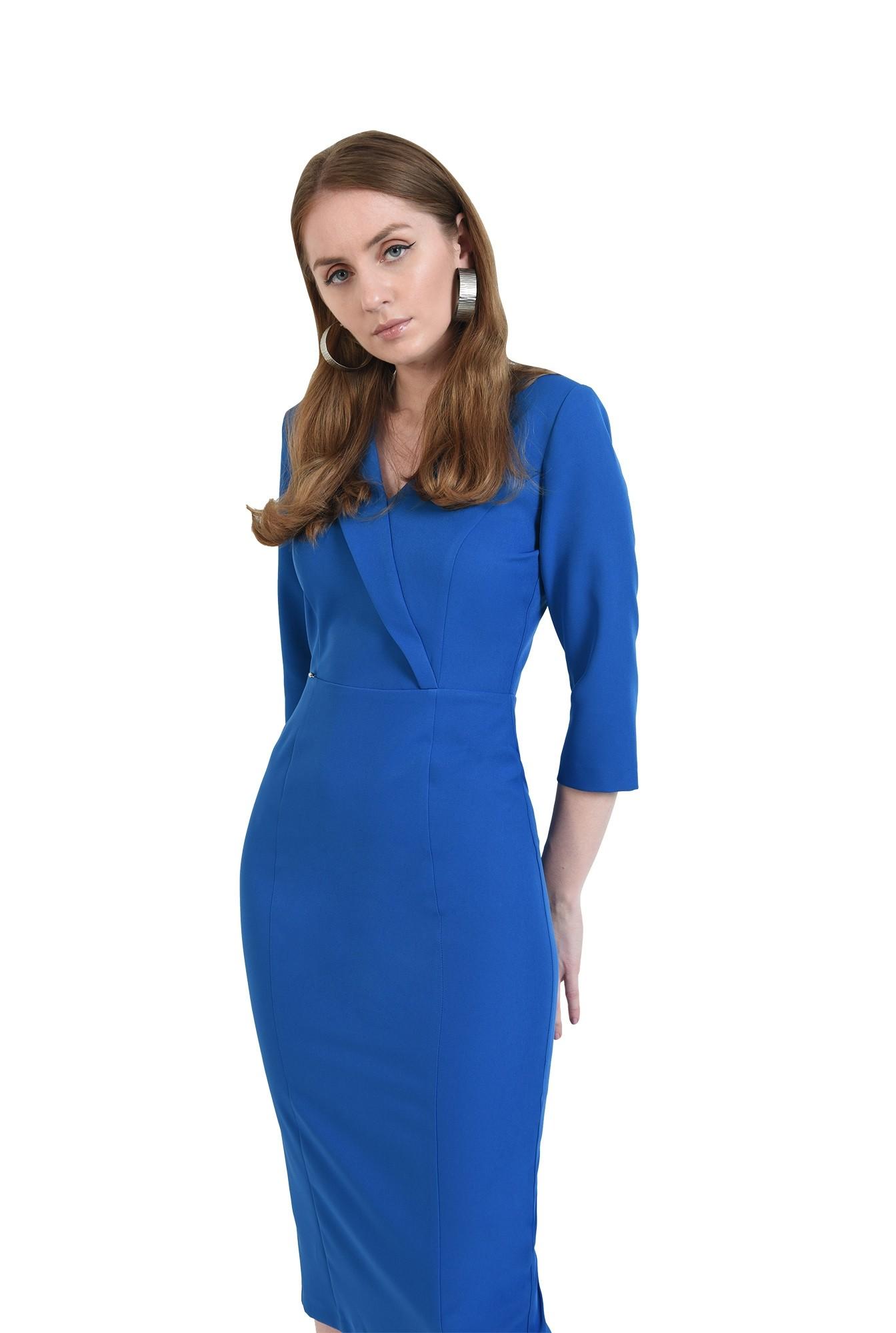 rochie albastra, midi, conica