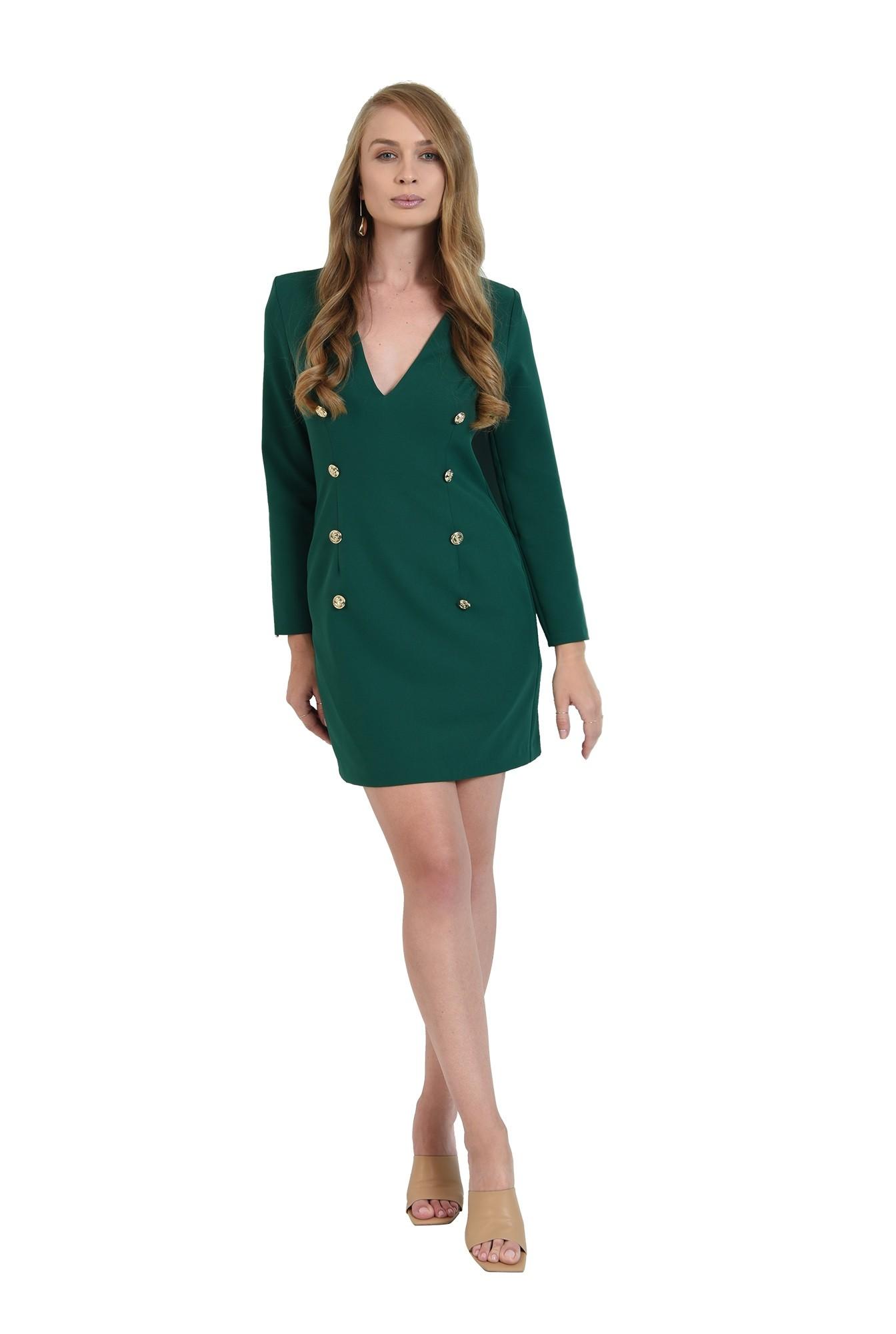 rochie verde, scurta, cu nasturi multipli