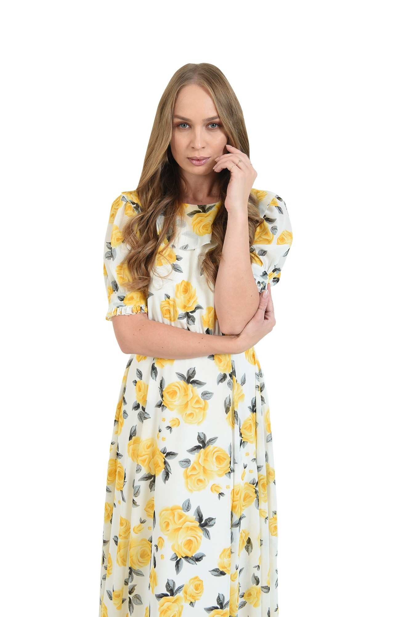 rochie midi, evazata, cu maneca voluminoasa
