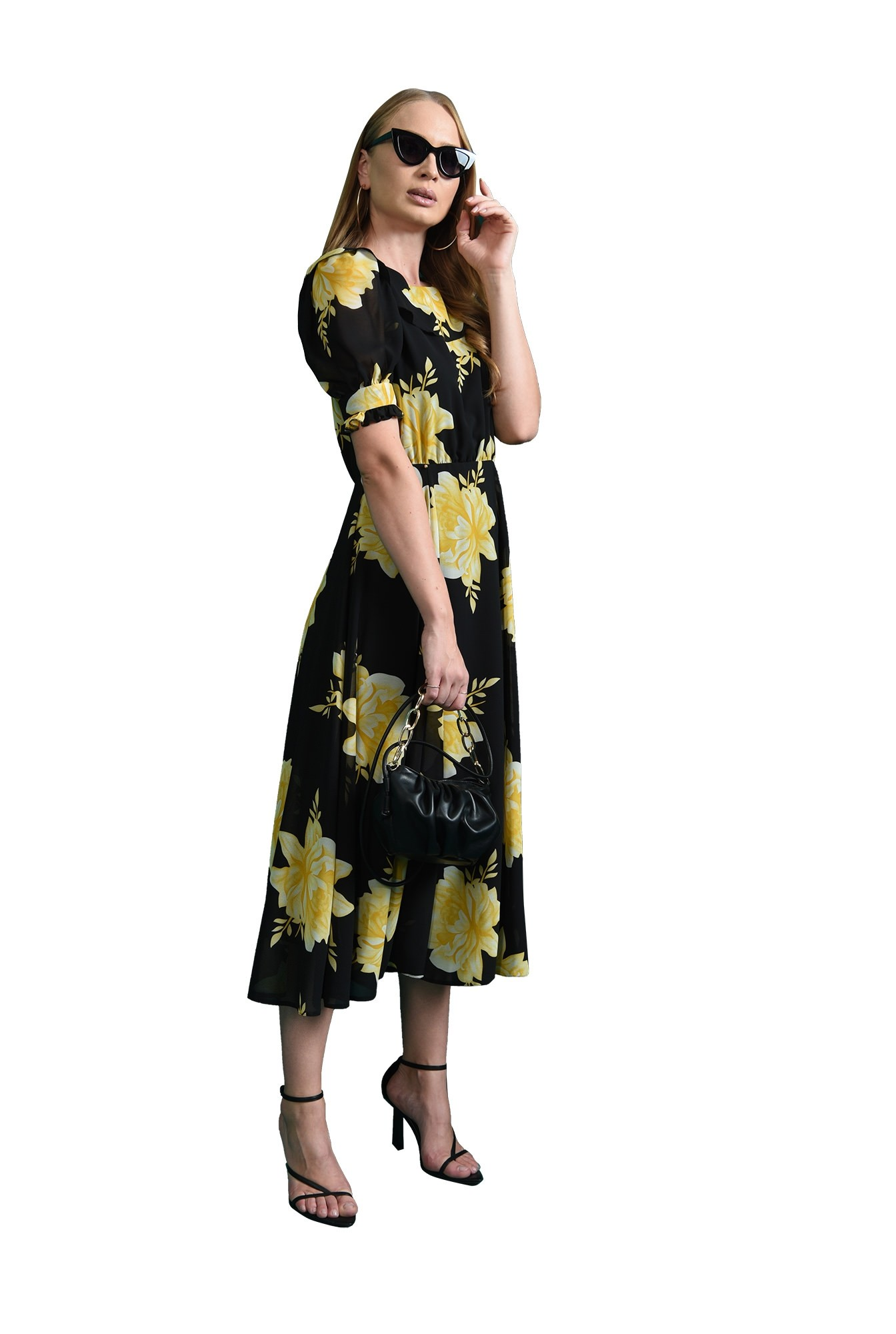 rochie cu motive florale, evazata, Poema