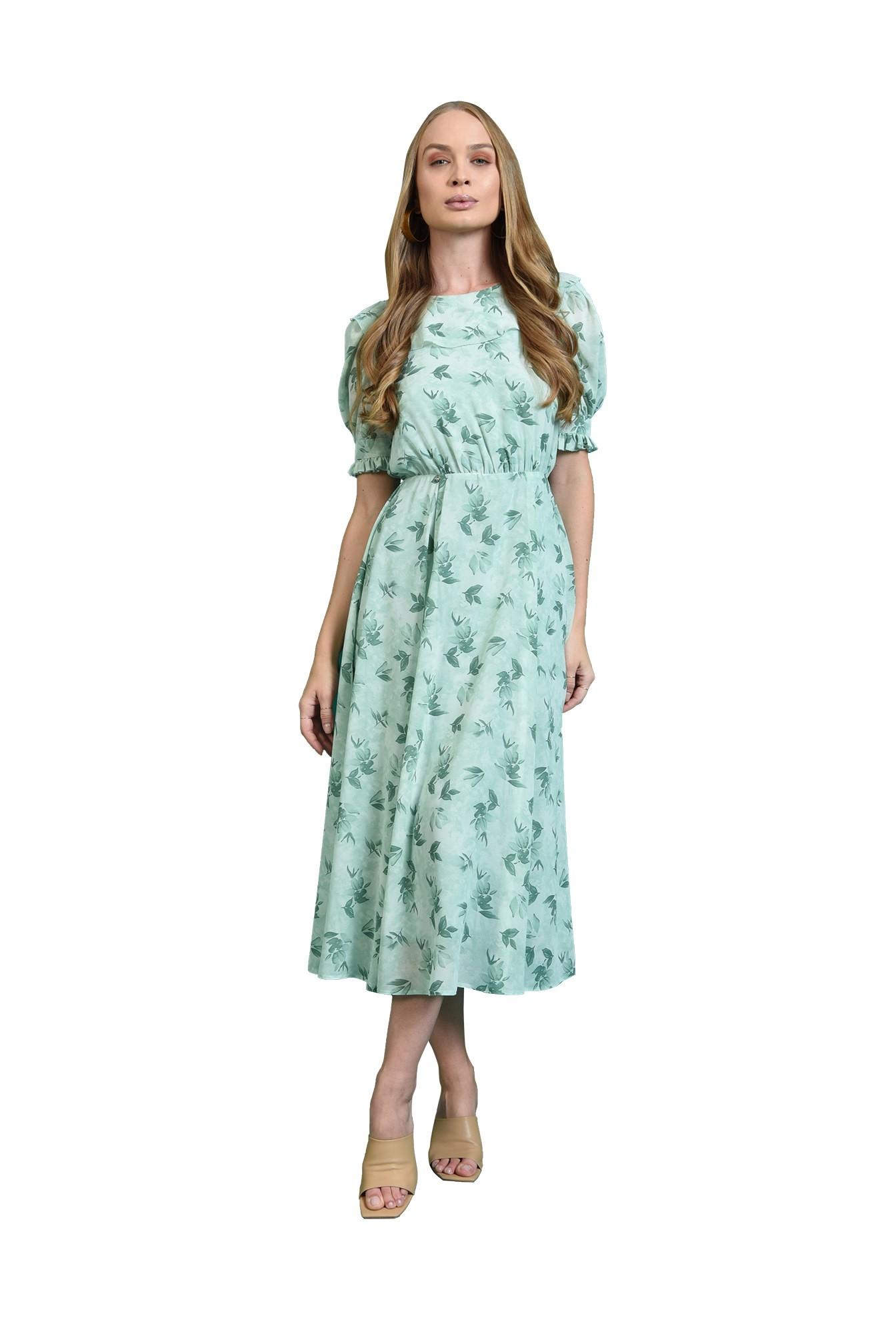 rochie cu guler, cu motive florale, Poema