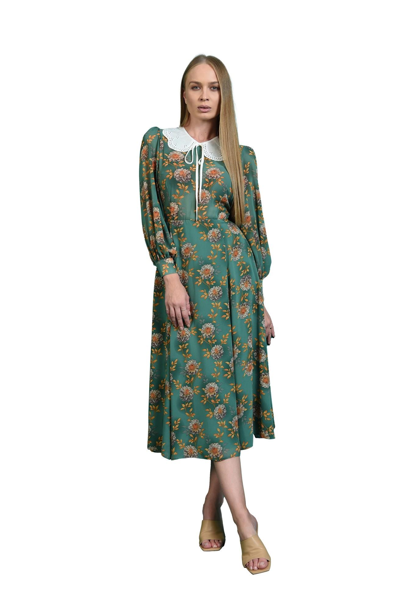 rochie evazata, verde, cu guler aplicat