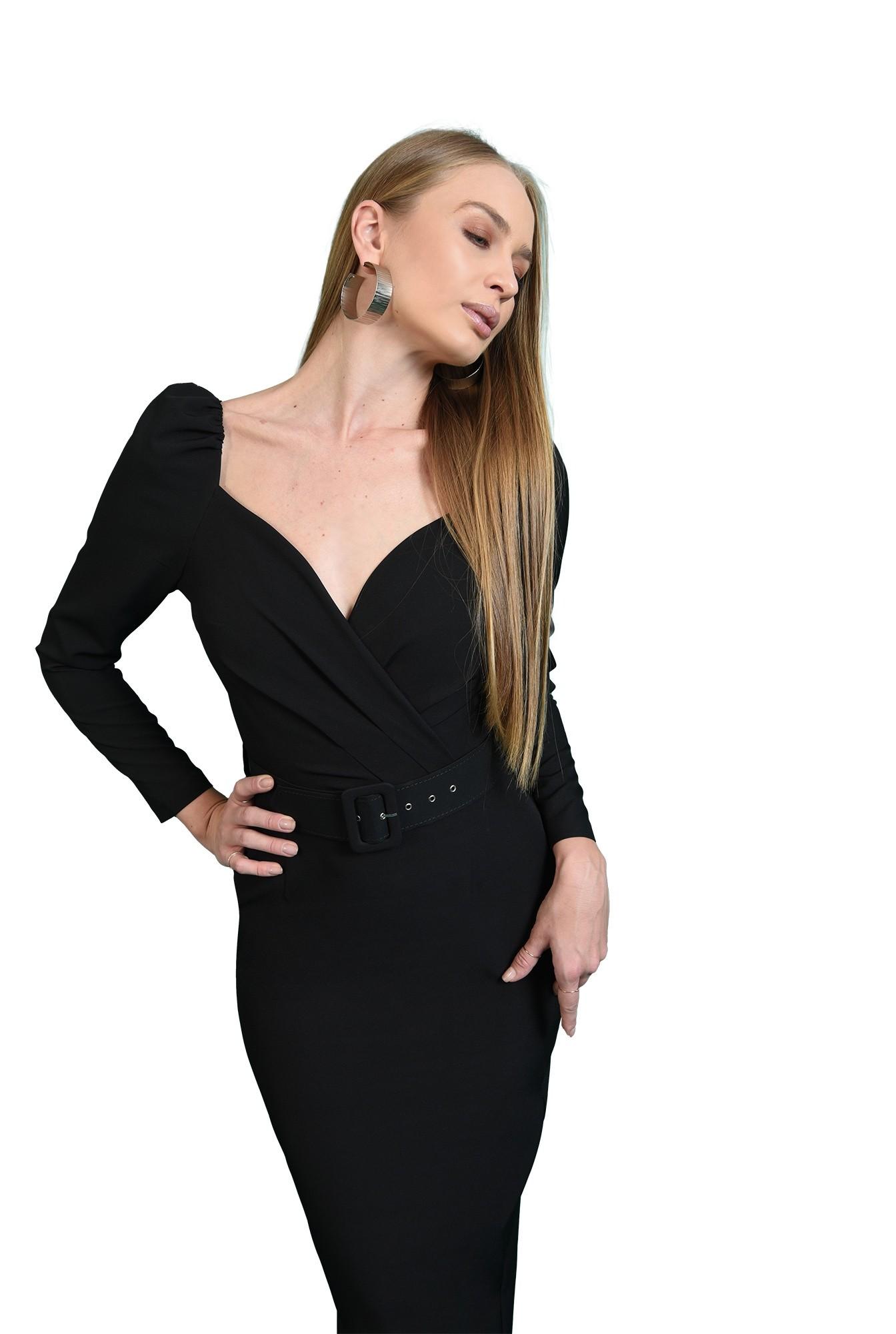 rochie cu centura, neagra, Poema