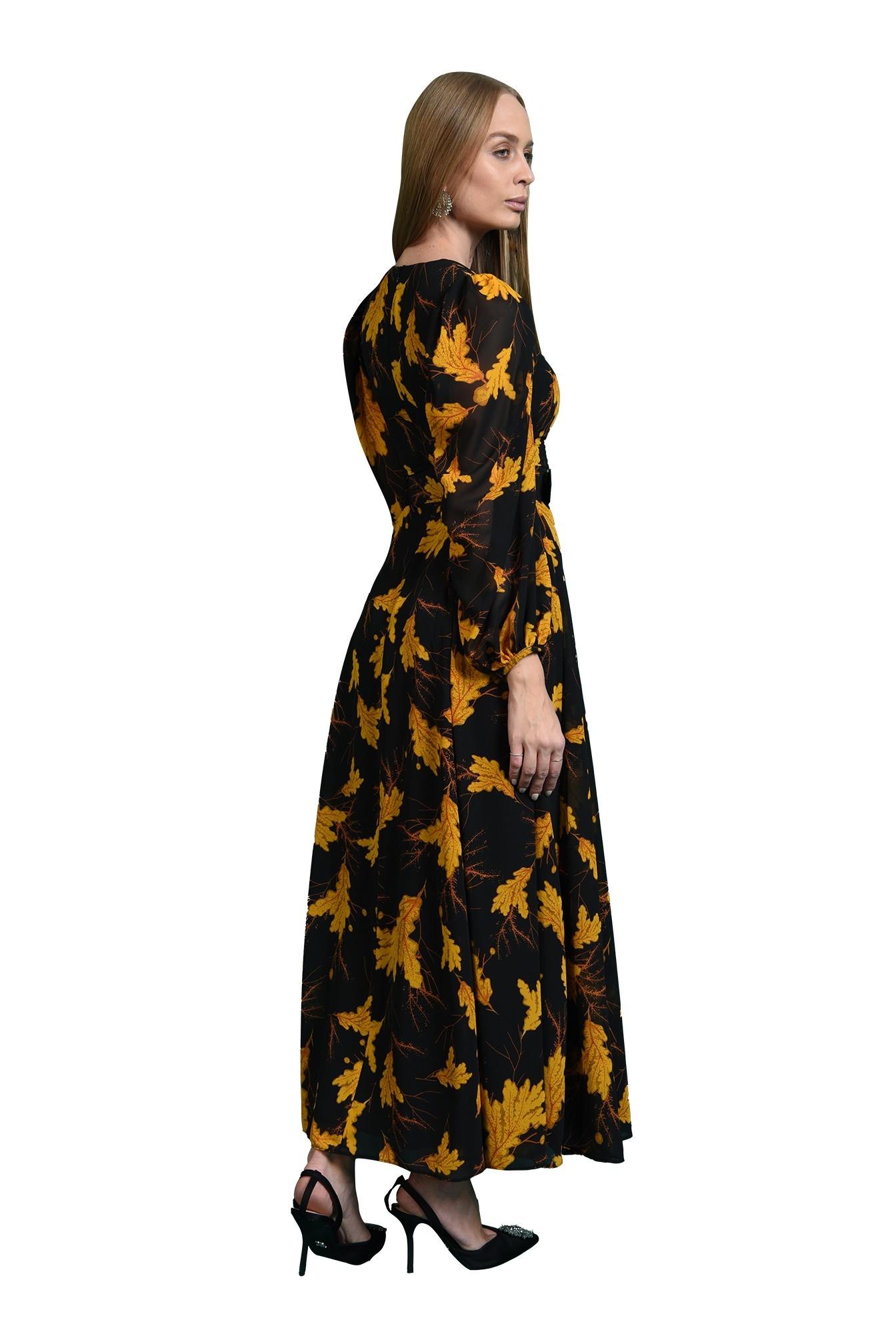 rochie maxi, cu centura, cu imprimeu