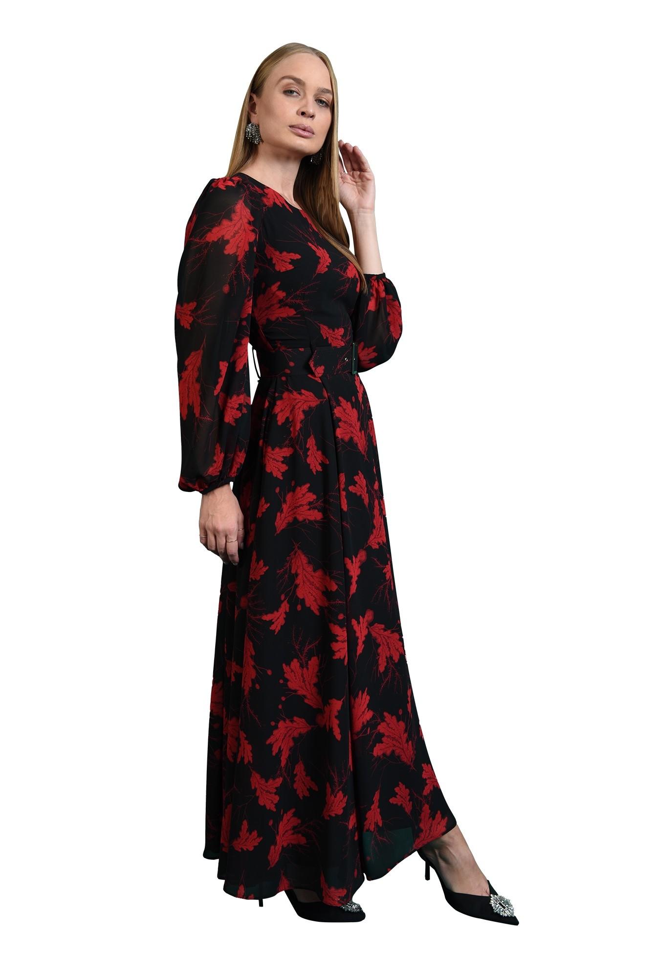 rochie lunga, neagra, cu motive florale