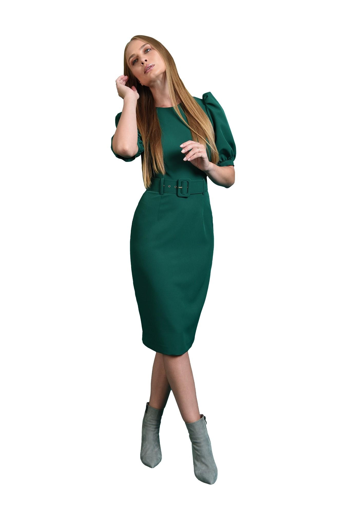 rochie office, cu centura, cu maneca voluminoasa