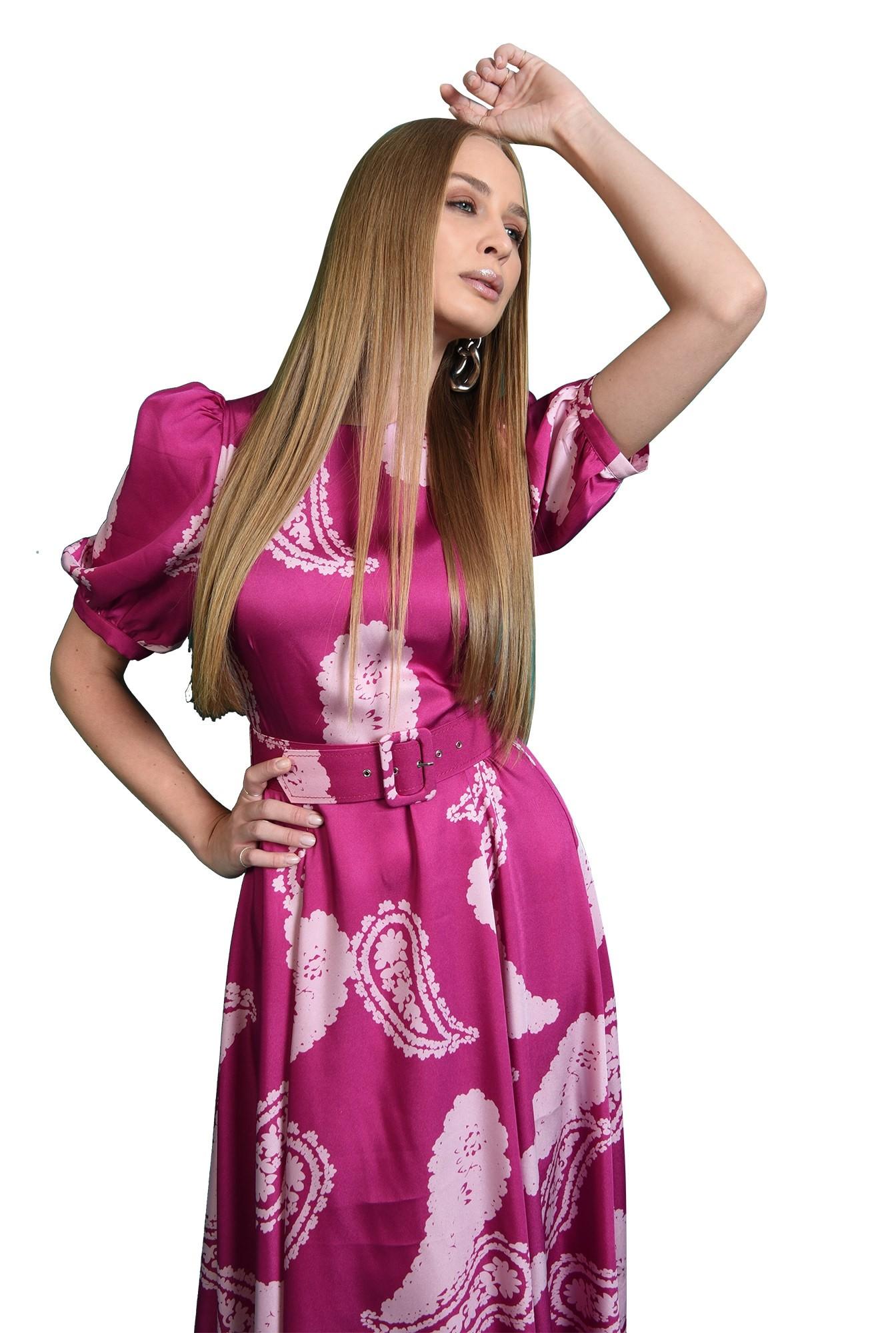 rochie casual, cu centuta, cu maneca voluminoasa