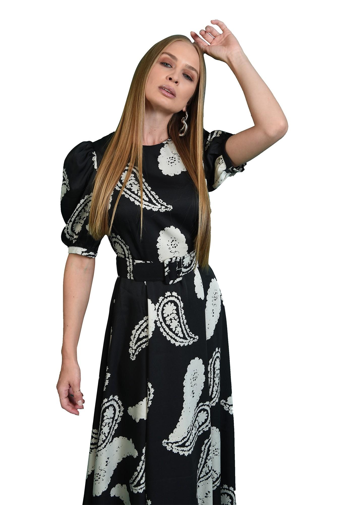 rochie casual, neagra, cu imprimeu