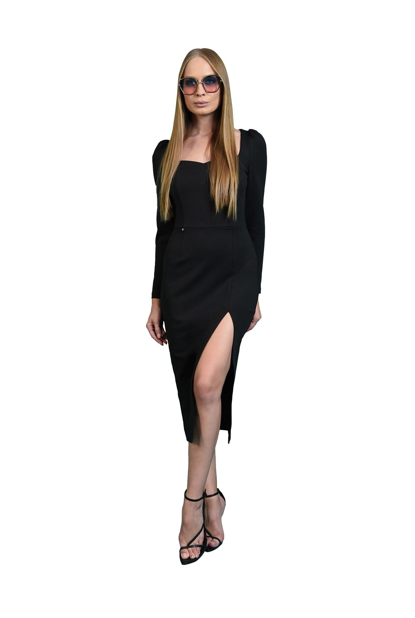 rochie conica, neagra, cu slit