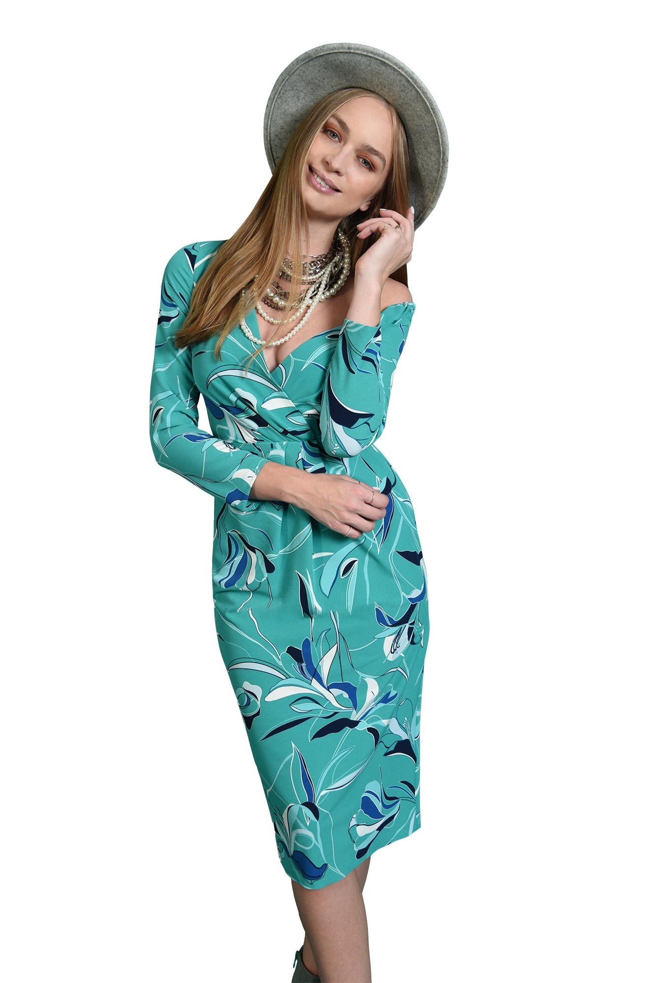 rochie eleganta, turcoaz, cu pliuri