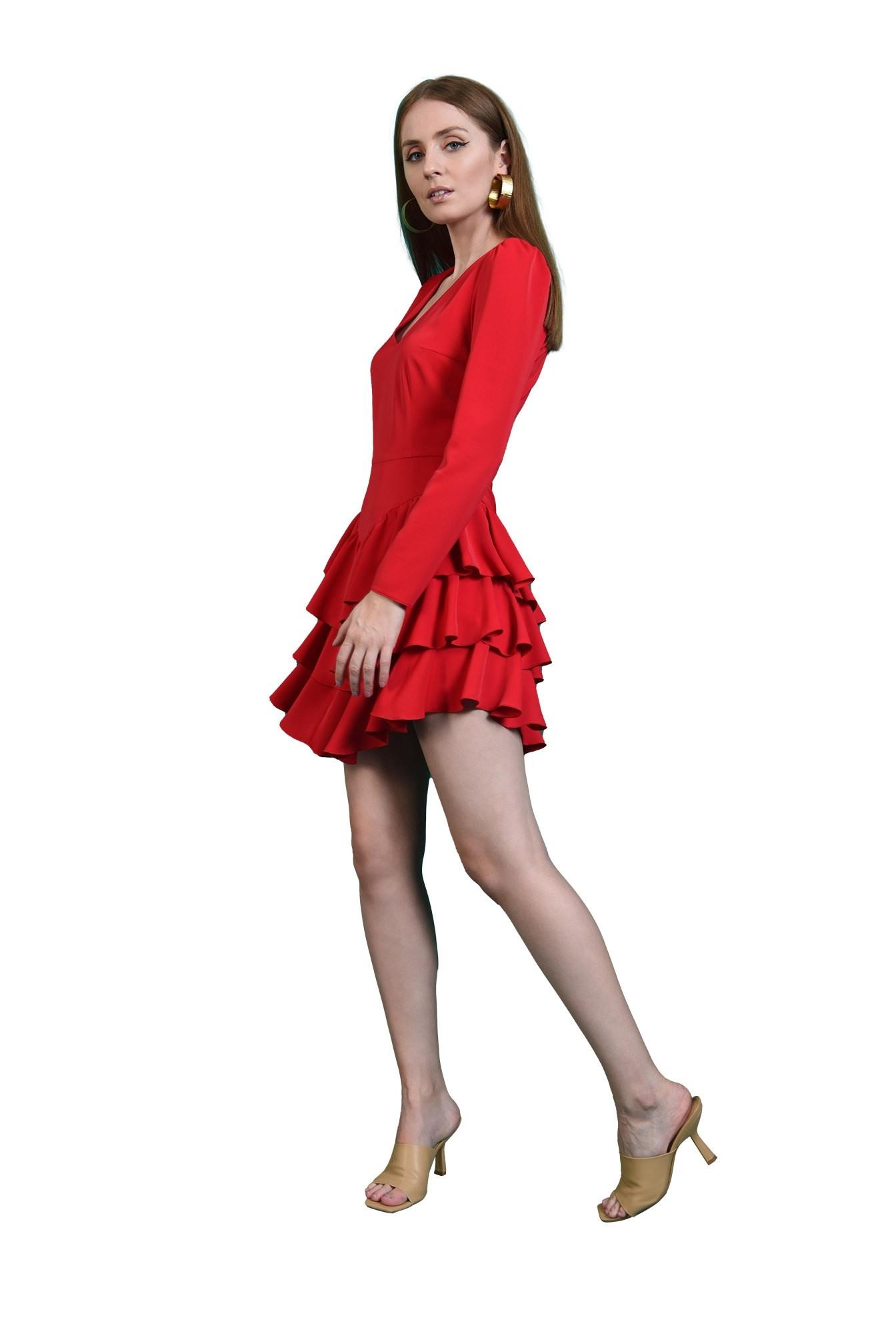 rochie casual, rosie, cu volane