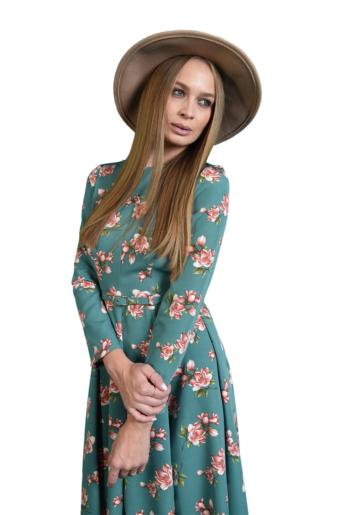 rochie cu imprimeu floral, cu maneca lunga, cu flori