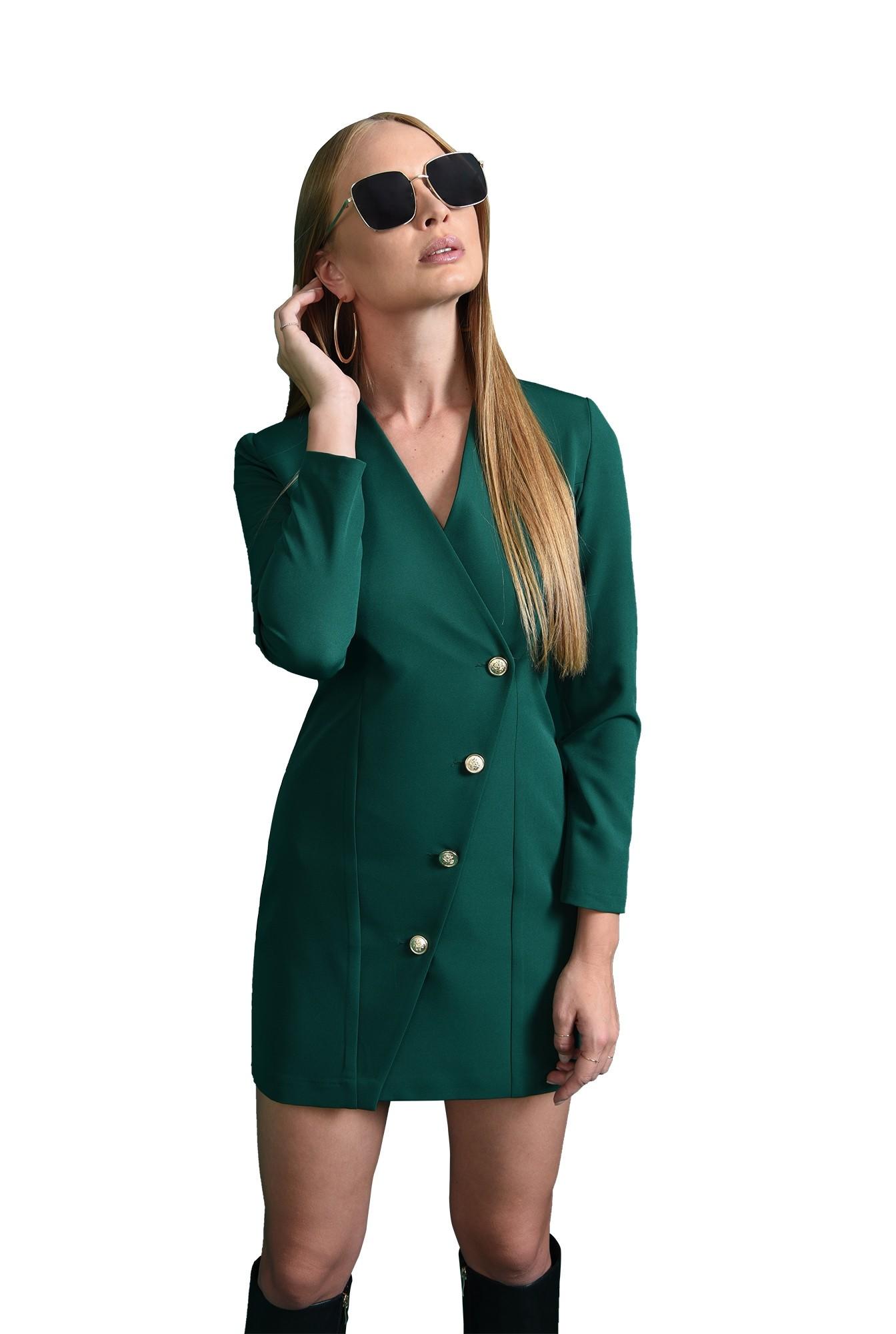 rochie mini, verde, dreapta, cu nasturi
