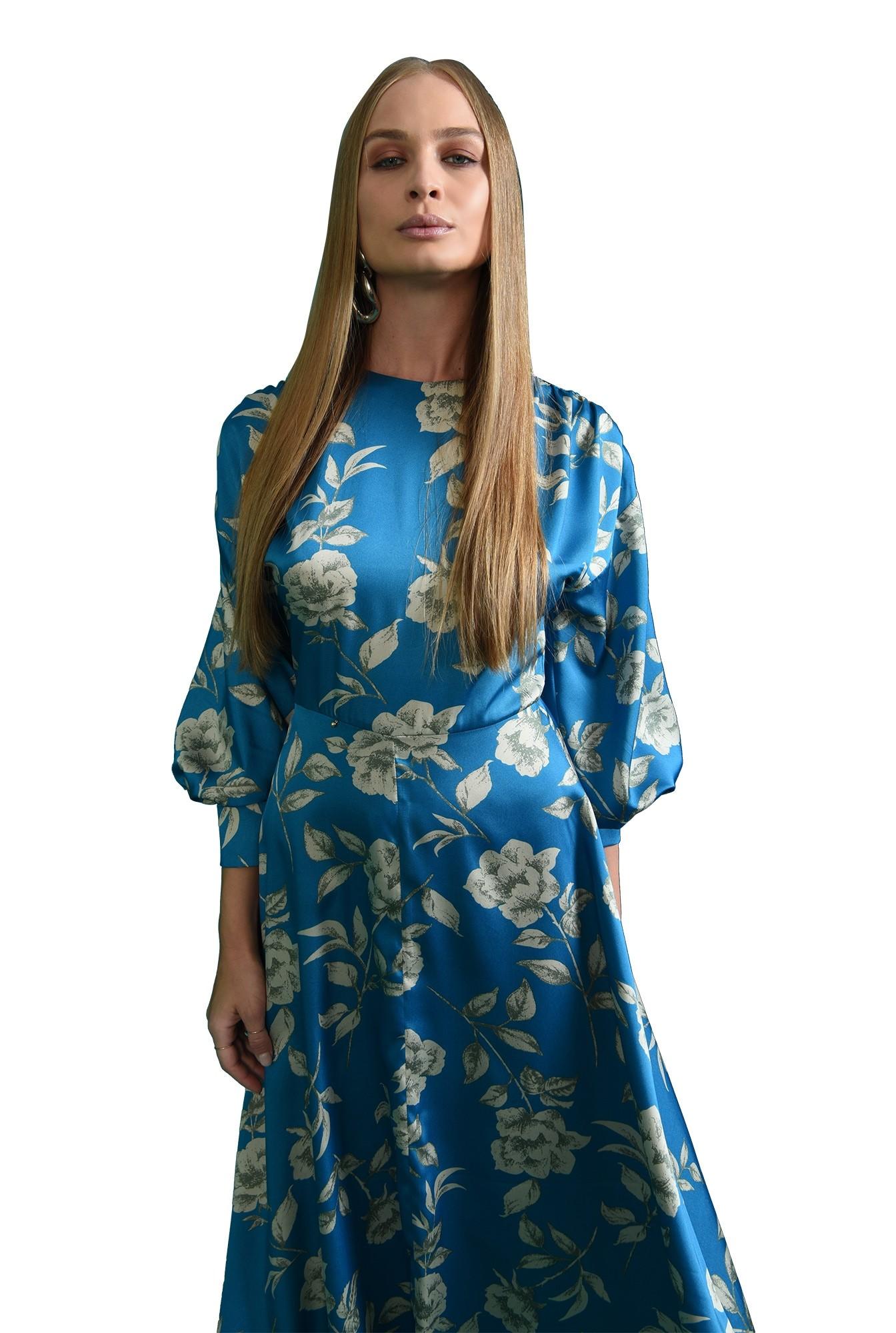rochie cu imprimeu floral, cu umarii cazuti, cu maneca voluminoasa
