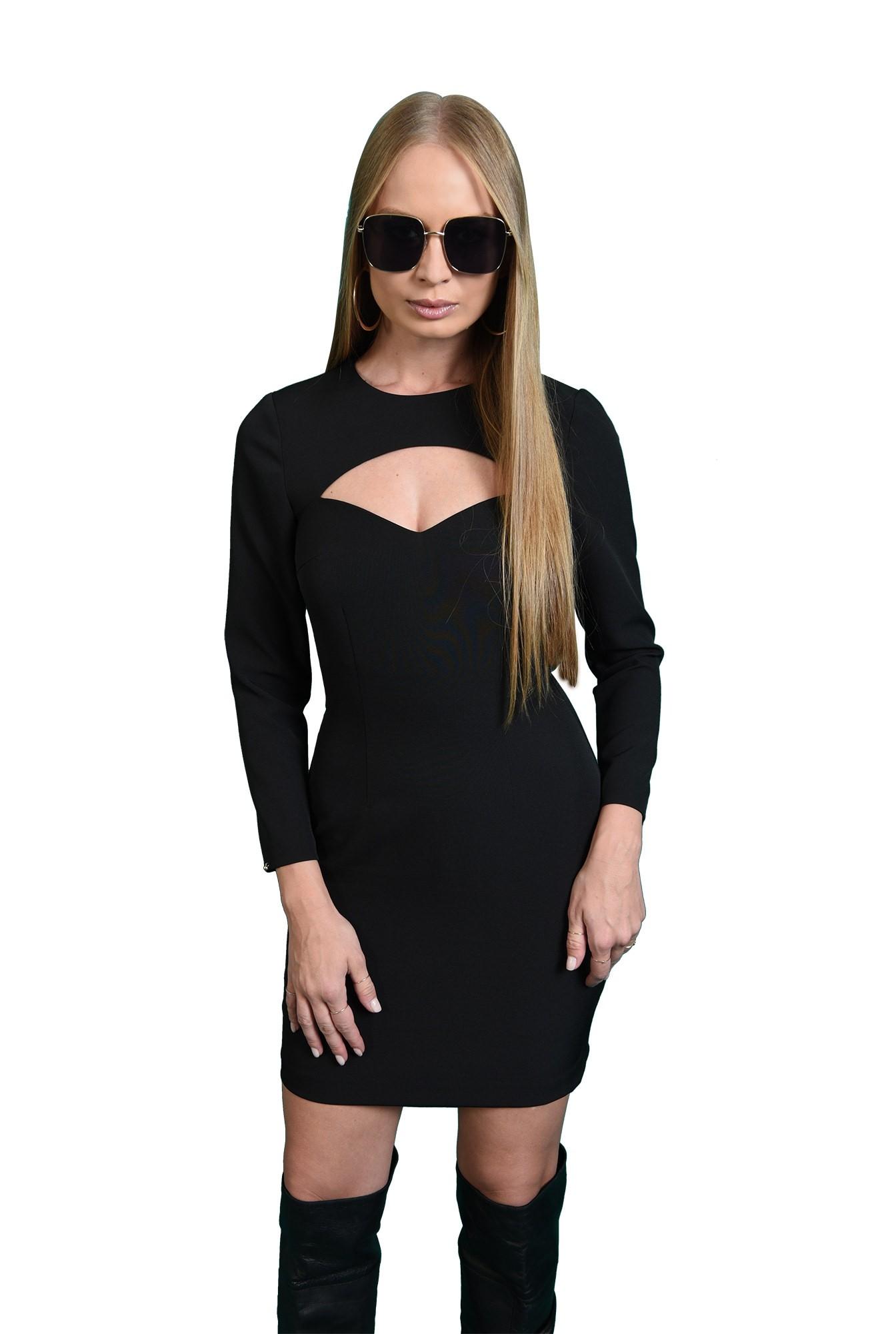 rochie mini, neagra, cu decupaj, Poema