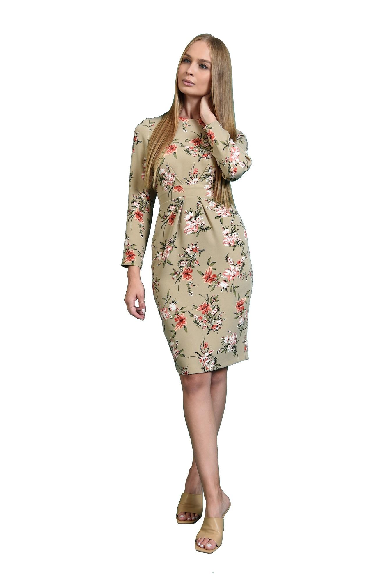 rochie midi, conica, cu print floral, Poema