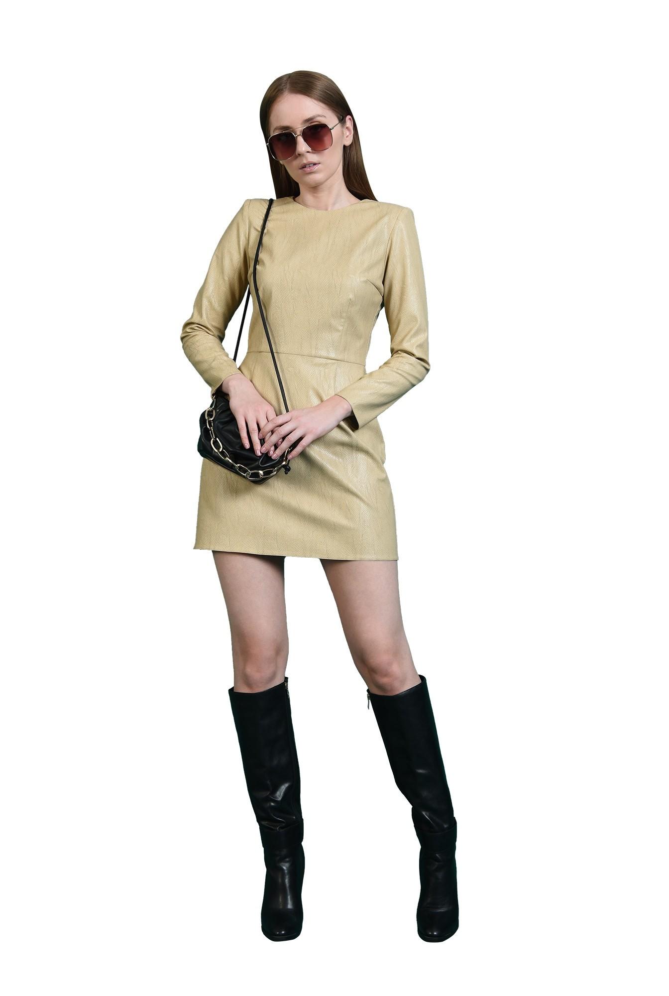 rochie crem, casual, scurta, animal print