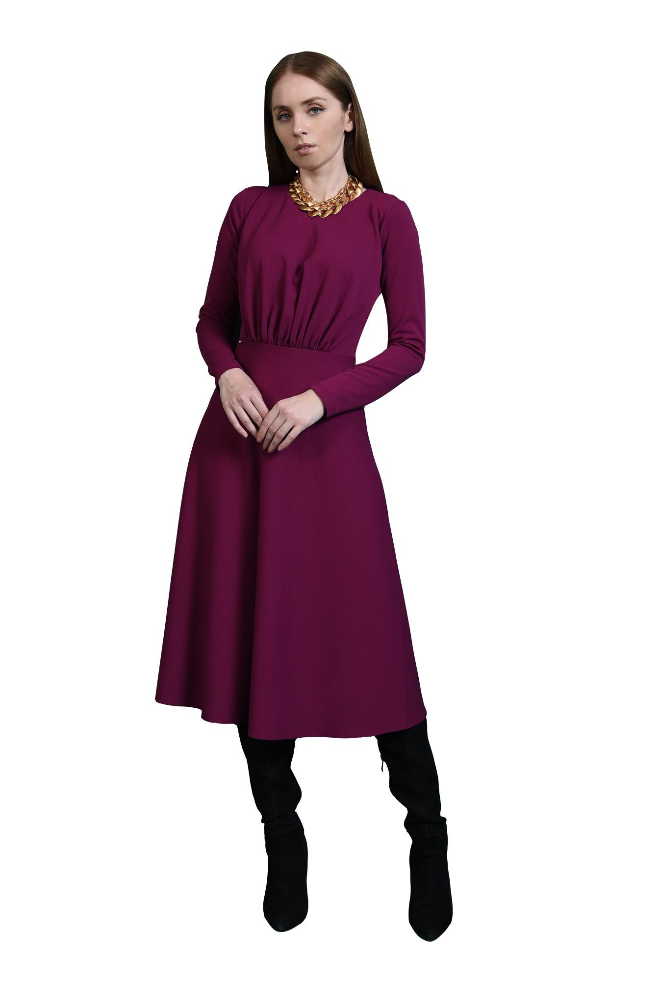 rochie magenta, casual, cu pliuri, Poema