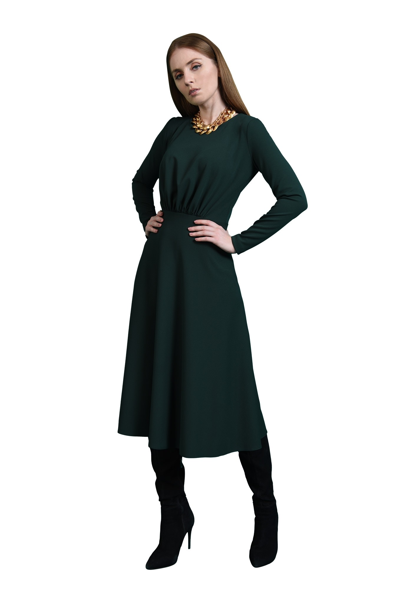 rochie verde, casual, Poema