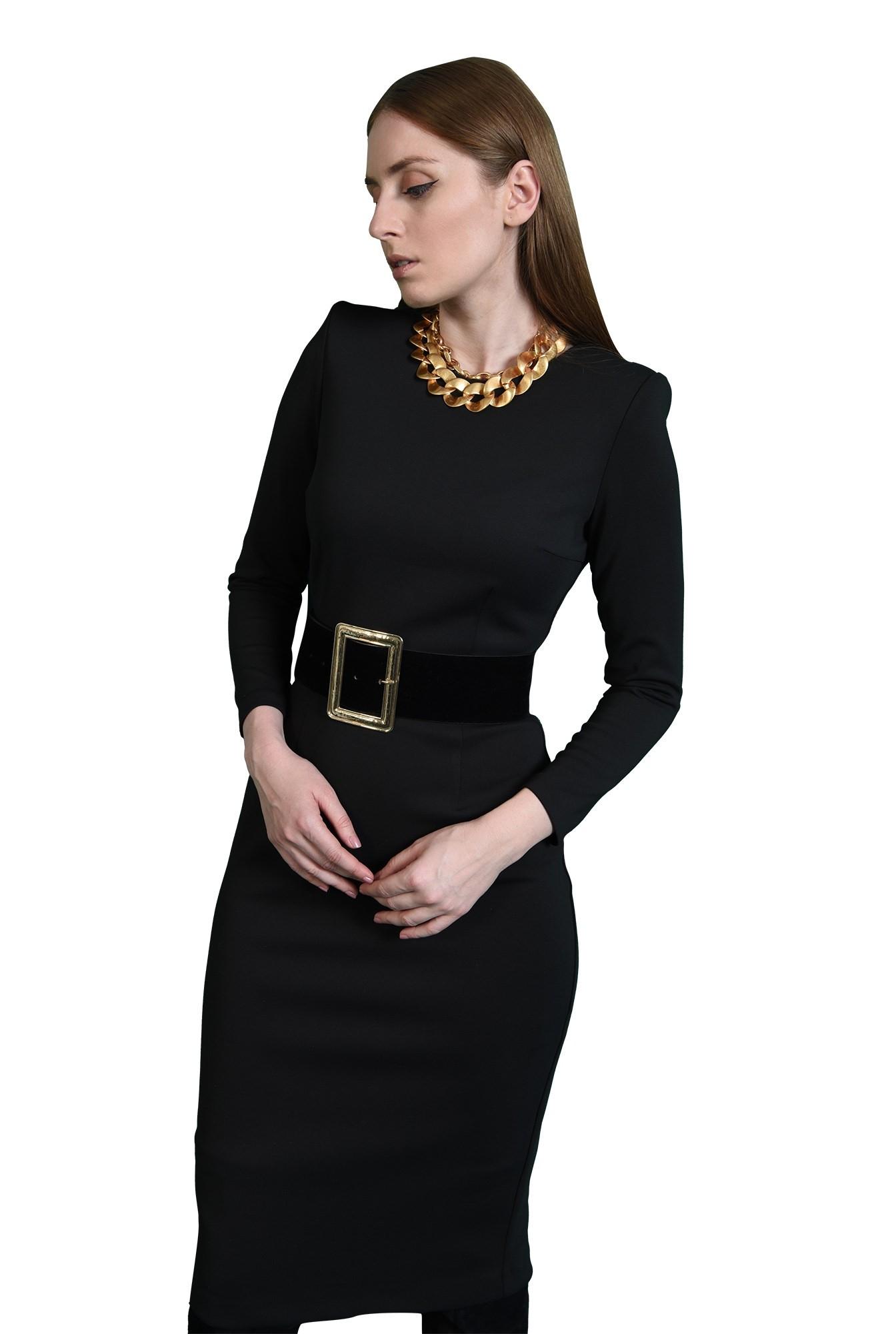rochie neagra, office, cu decolteu rotund