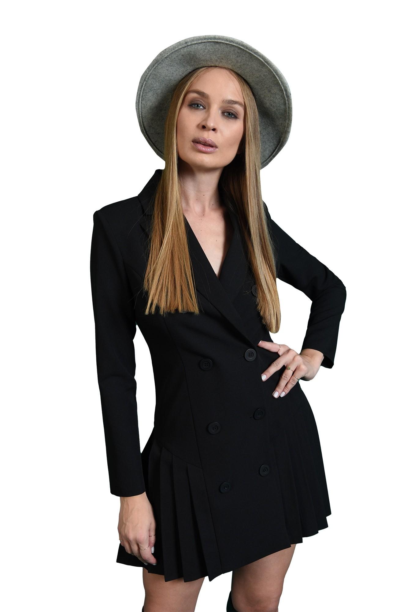 rochie scurta, neagra, casual, cu pliseuri