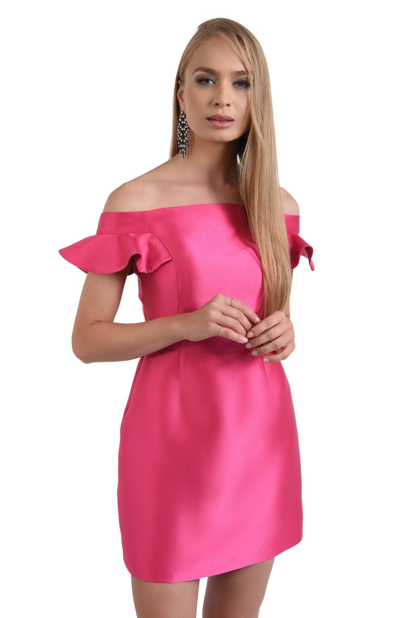 rochie de seara, scurta, din tafta, roz, decoltata, cu umerii goi