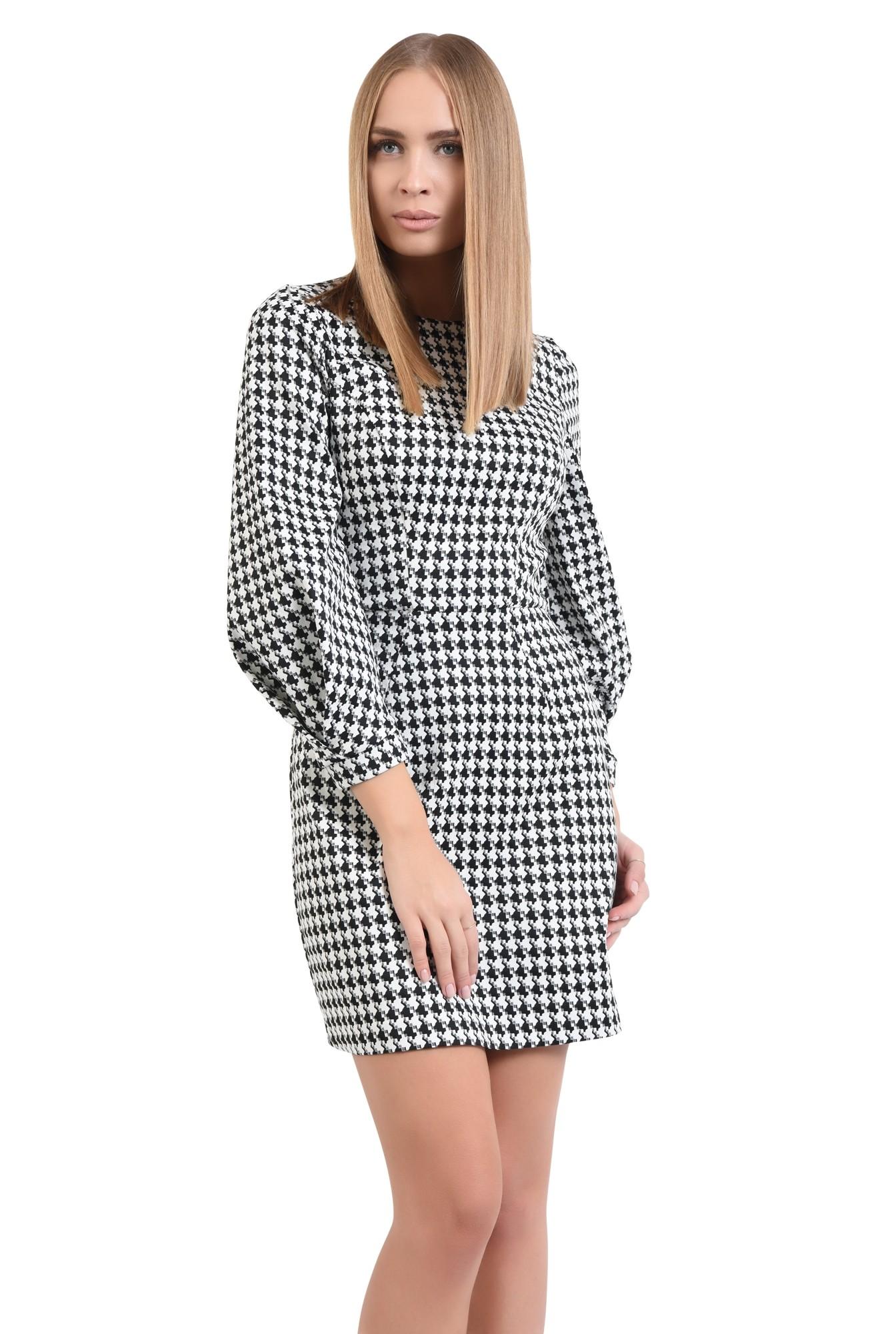 rochie de zi, alb-negru, croi conic, mini
