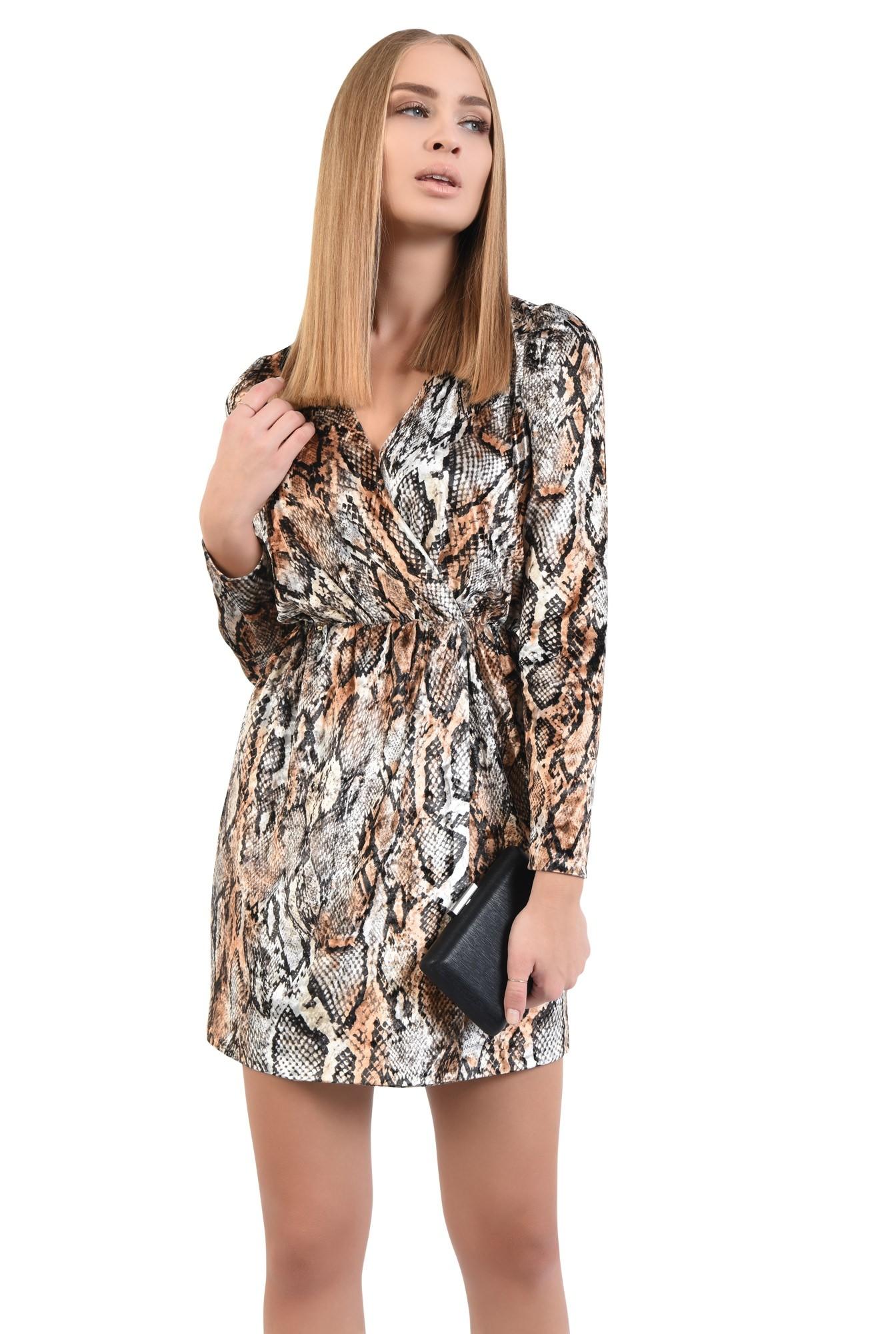 rochie de seara, catifea imprimata, scurta, cu anchior, rochii online