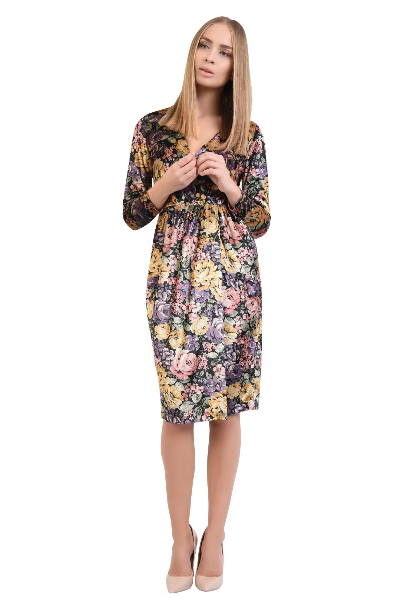 rochie eleganta, imprimeu floral, midi, talie pe elastic