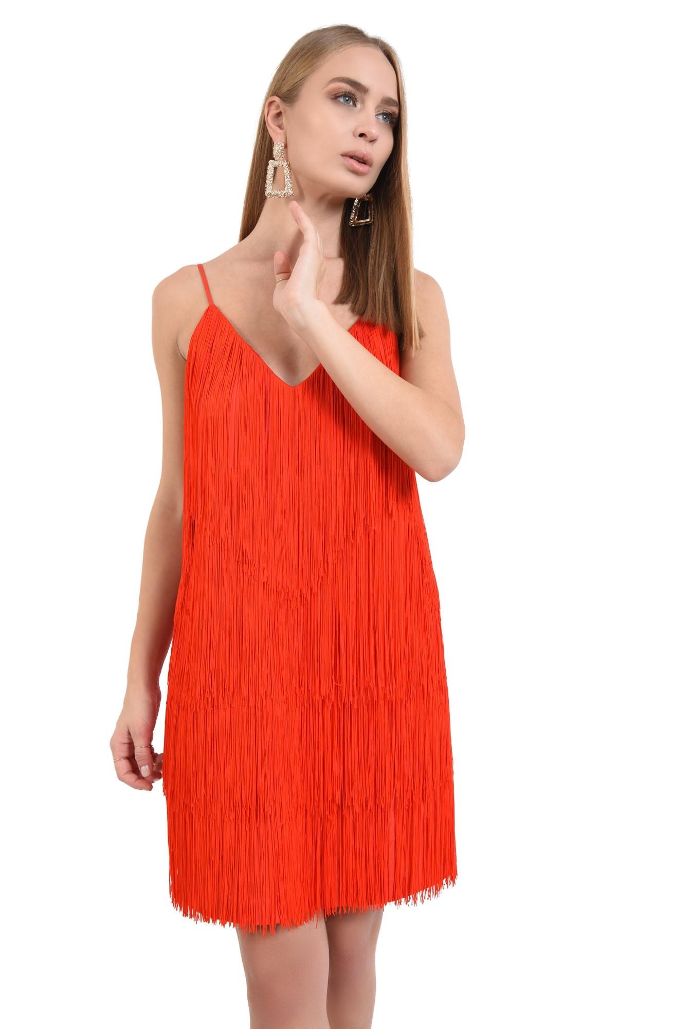 rochie de seara, cu franjuri, corai, bretele spaghetti