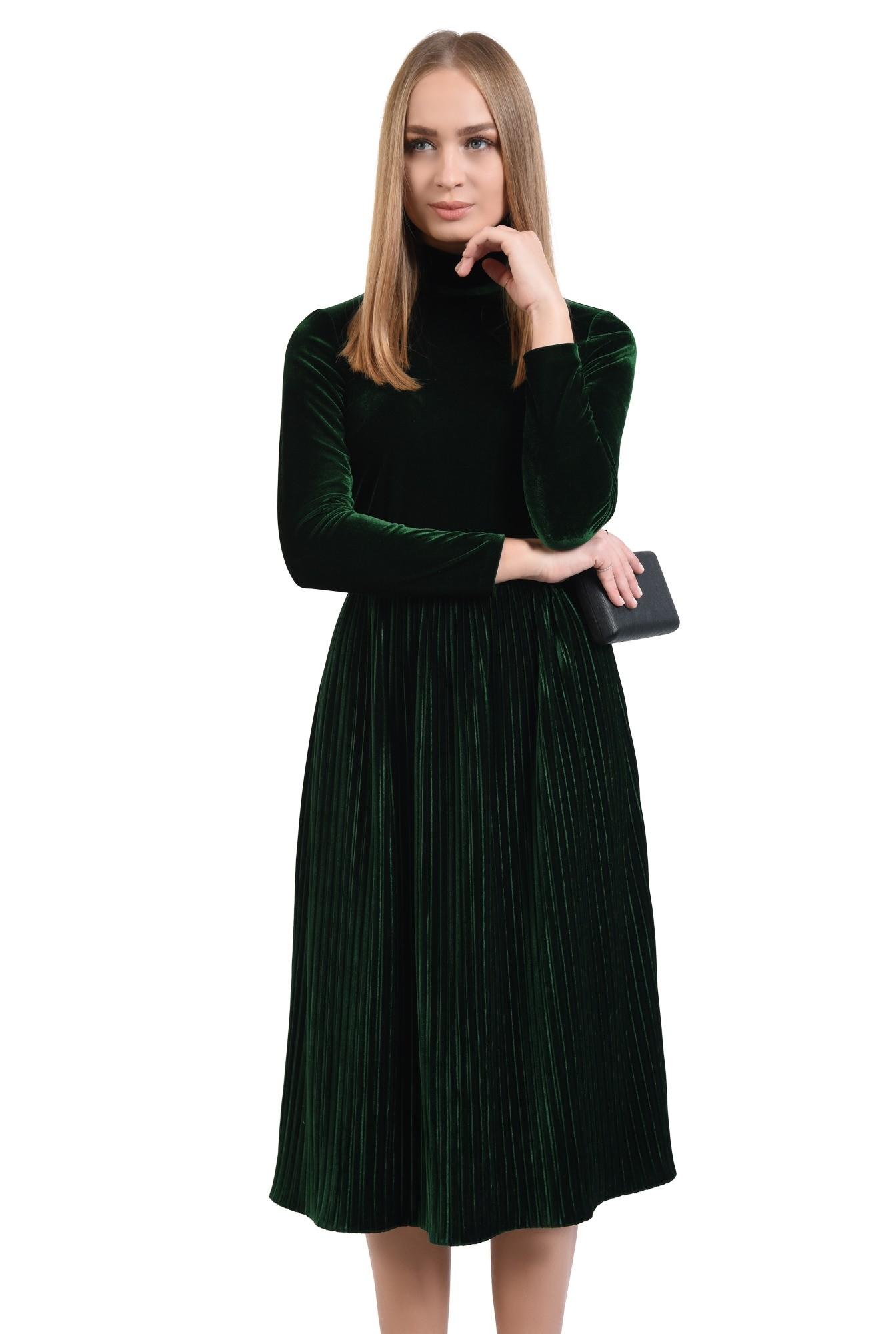 rochie de ocazie, din catifea, cu pliseuri, fermoar la spate, cu guler