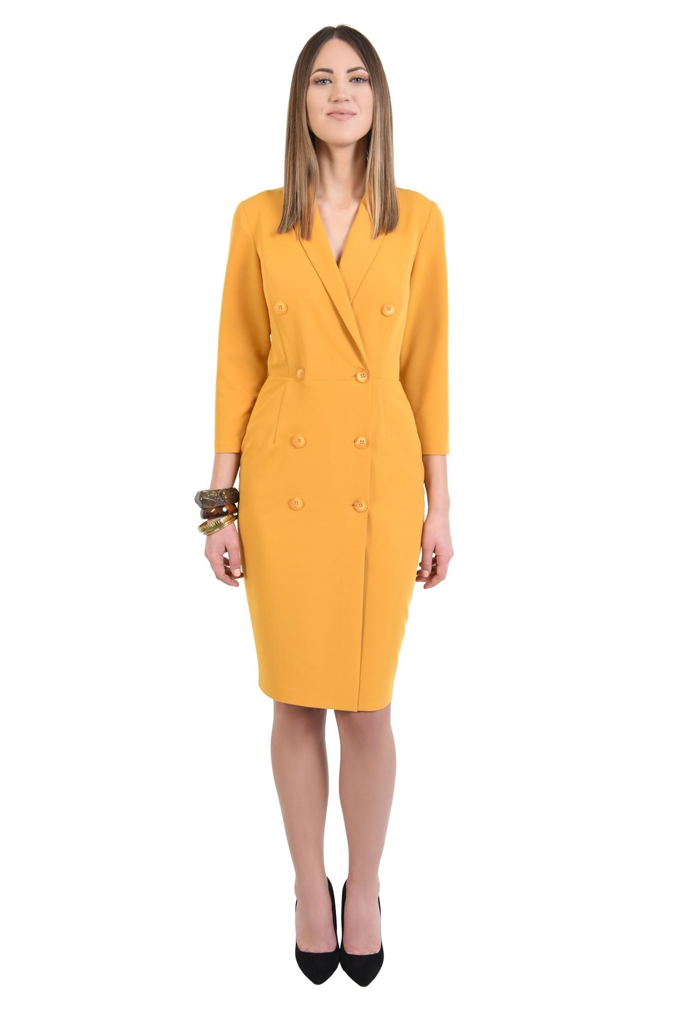 360 - rochie eleganta, conica, midi, galbena, mustar, rochie office