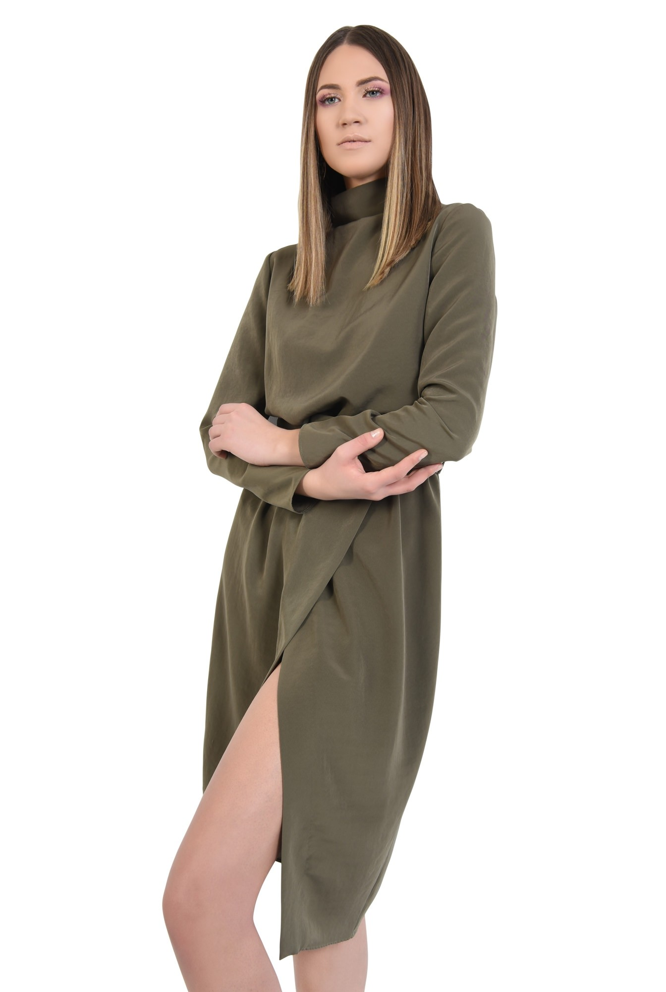 rochie eleganta, de zi, verde, kaki, cu curea, maneci lungi