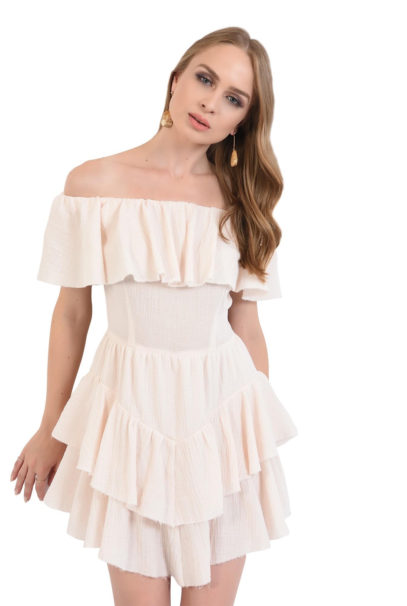 rochie mini, asimetrica, din bumbac, Poema