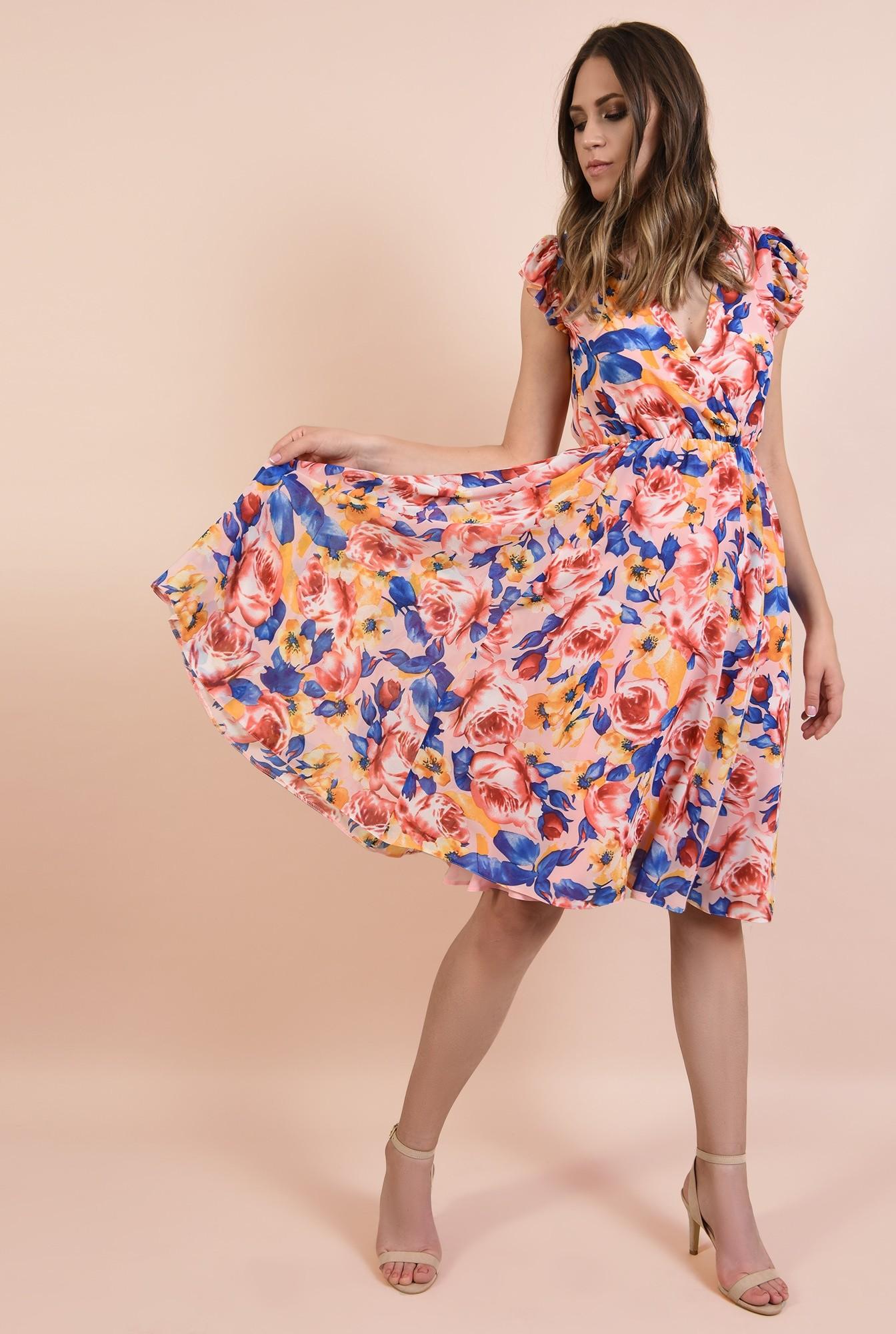 rochie casual, evazata, midi, talie pe elastic, imprimeu floral, Poema