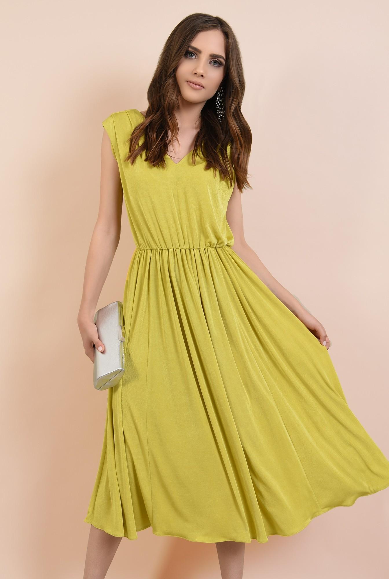 rochie de ocazie, clos, fara maneci, lycra, verde lime, Poema