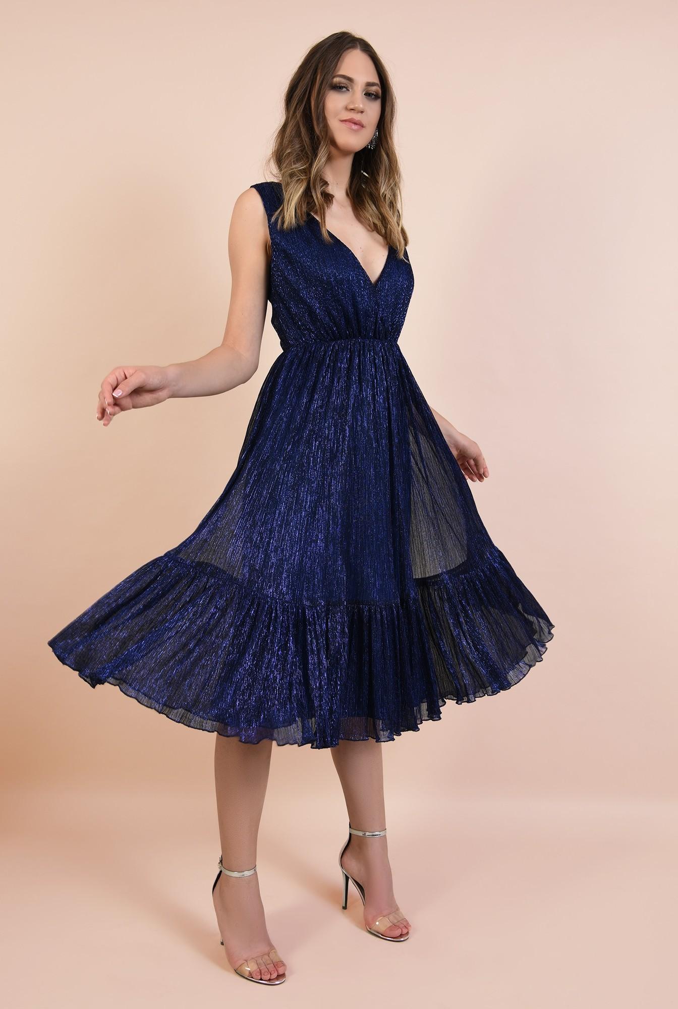 rochie de seara, din lurex, elastic la talie, anchior petrecut, albastra, Poema