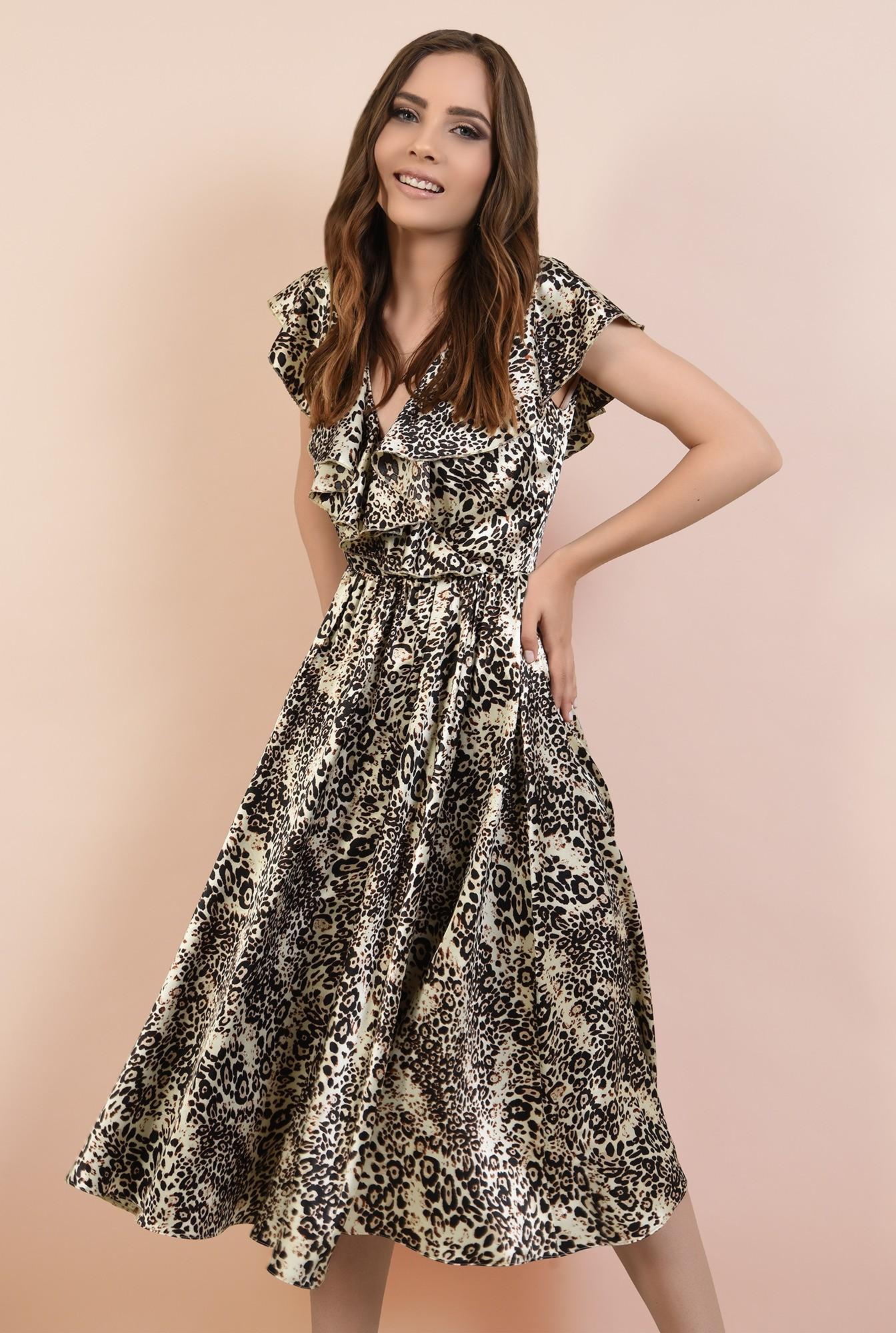 rochie eleganta, din satin imprimat, cu volane, croi clos