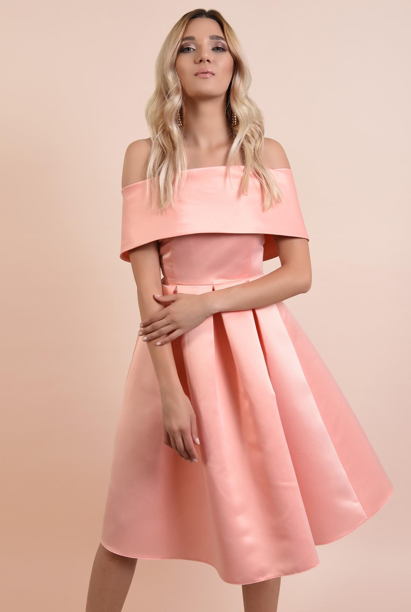 360 - rochie de ocazie, roz somon, midi, cu pliuri panou, Poema, umeri goi