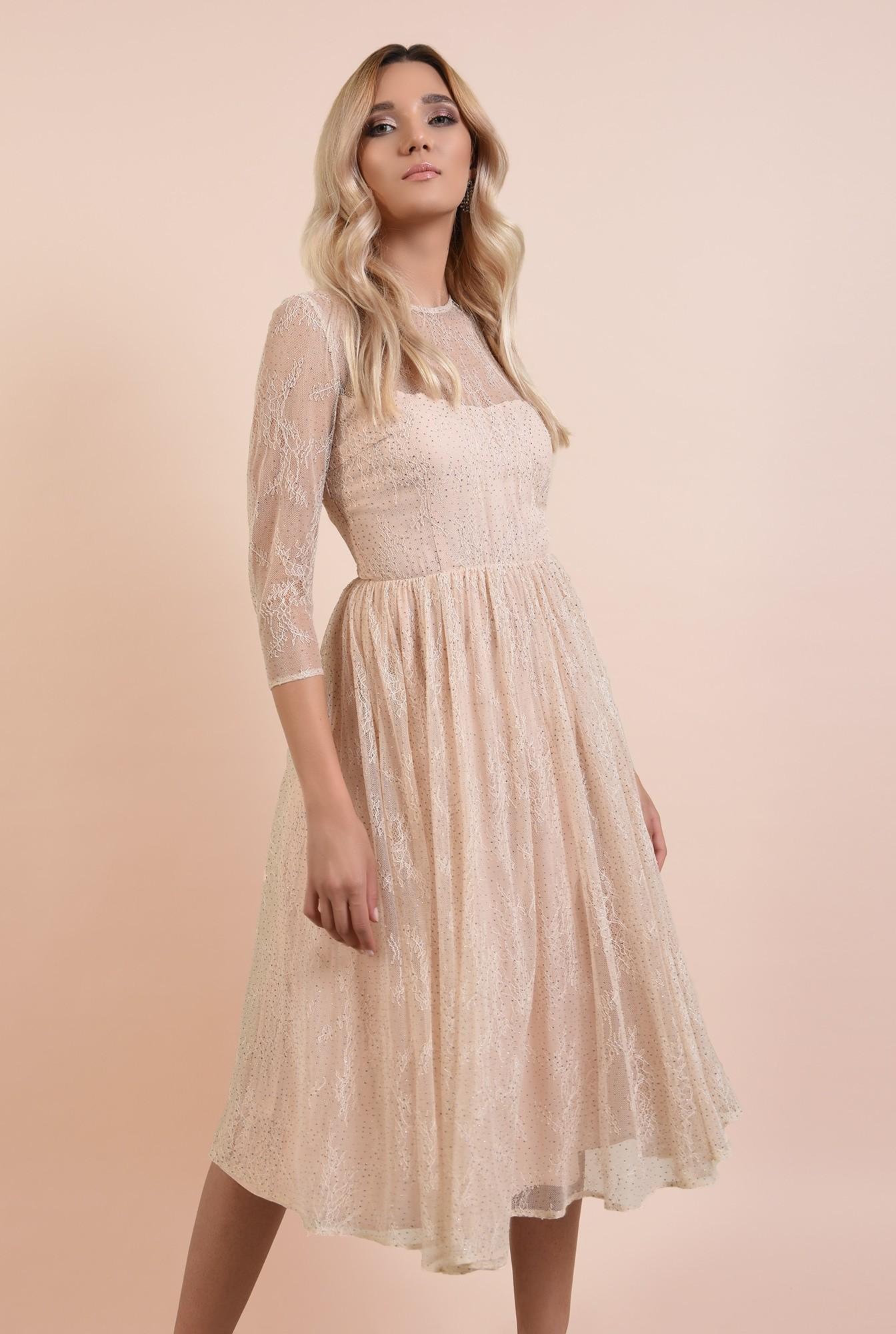 rochie eleganta, crem, din tulle, cu top din dantela, nude, broderie florala fina, Poema
