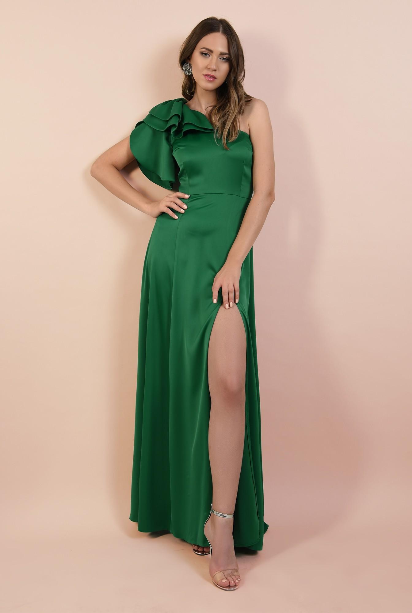 rochie de ocazie, lunga, verde, cu crapeu, cu volane la umar, maneca lalea
