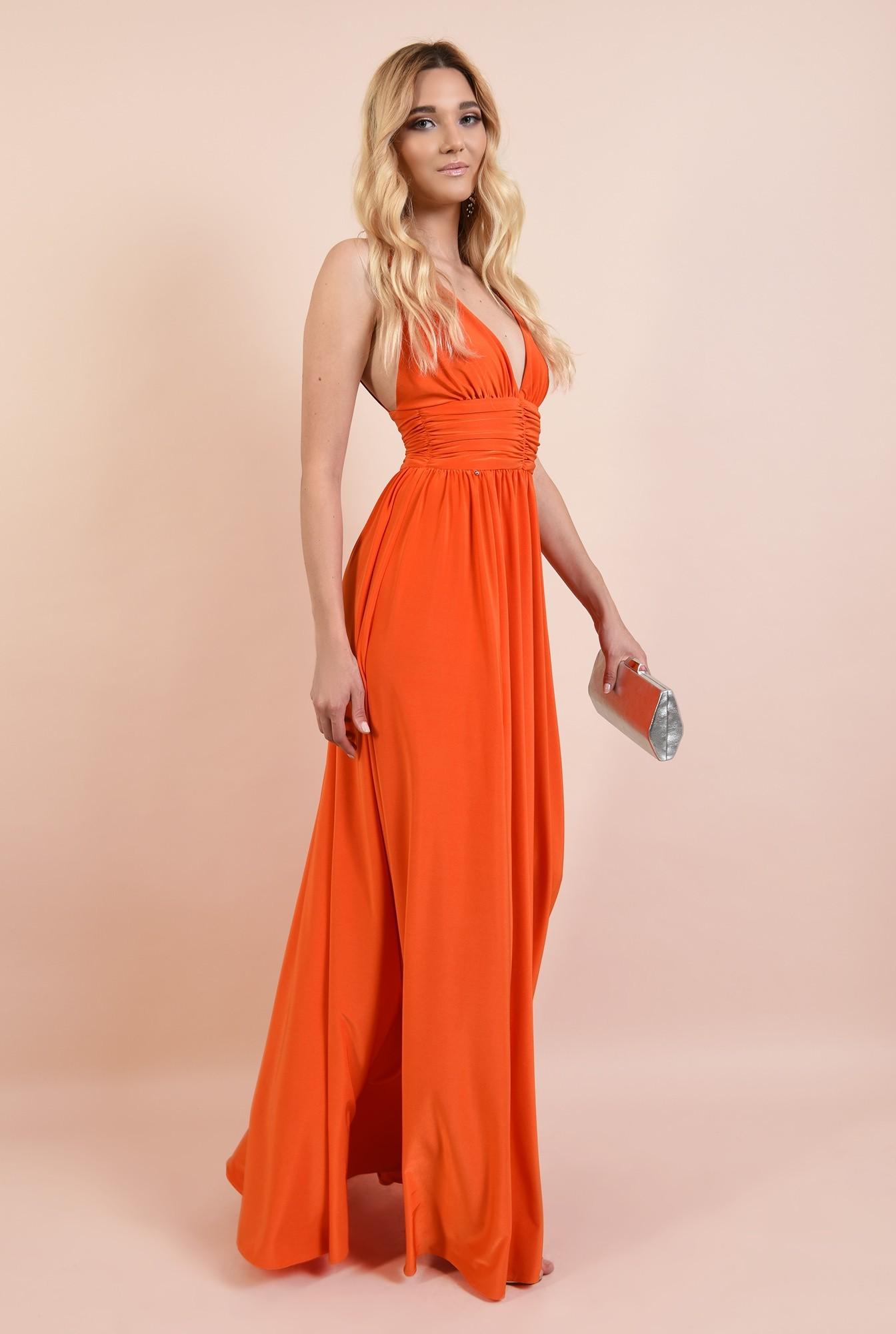 rochie eleganta, cu decolteu adanc, spate dezgolit, bretele, clos, corai