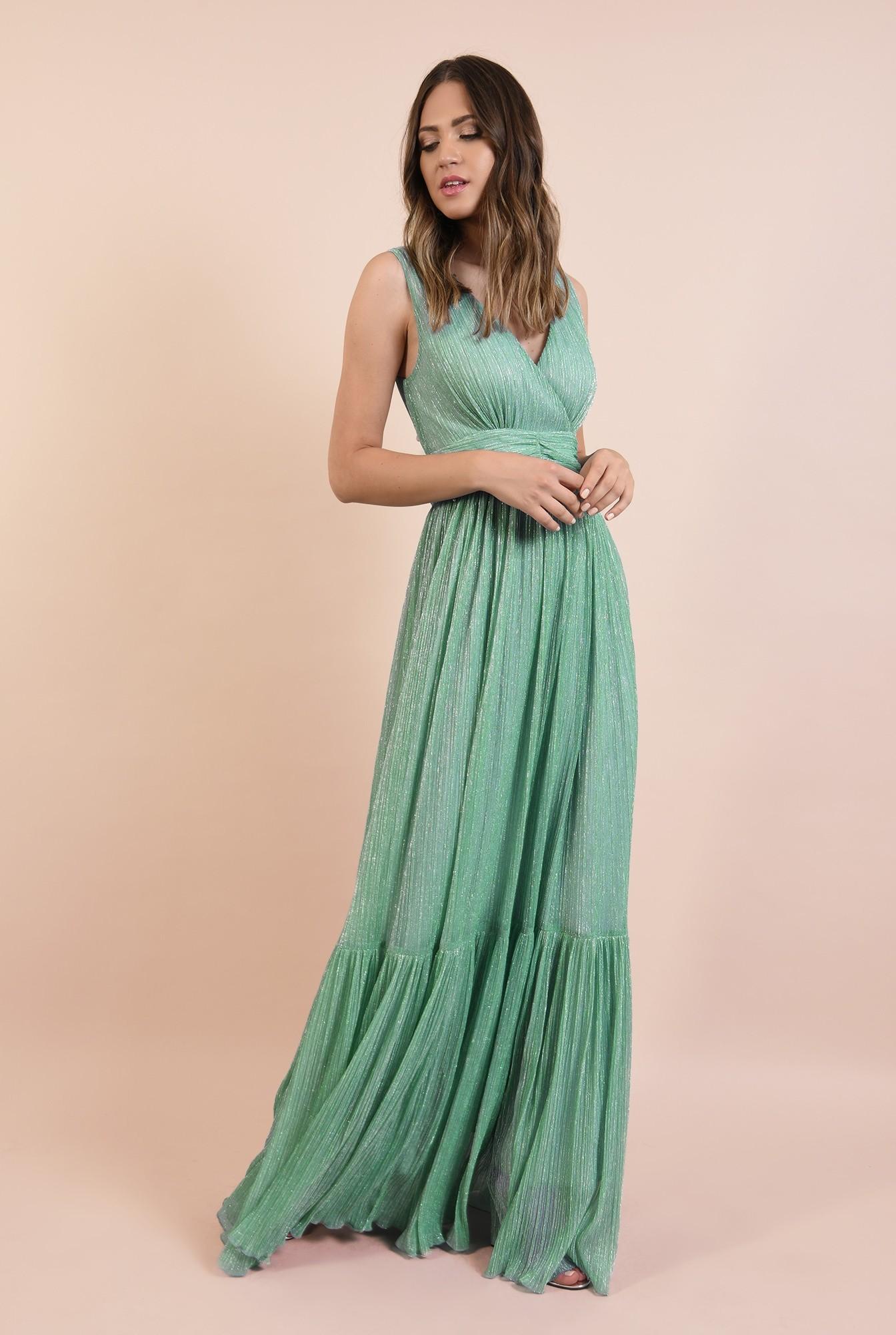 rochie de seara, lunga, lurex, verde menta, volan la baza, Poema