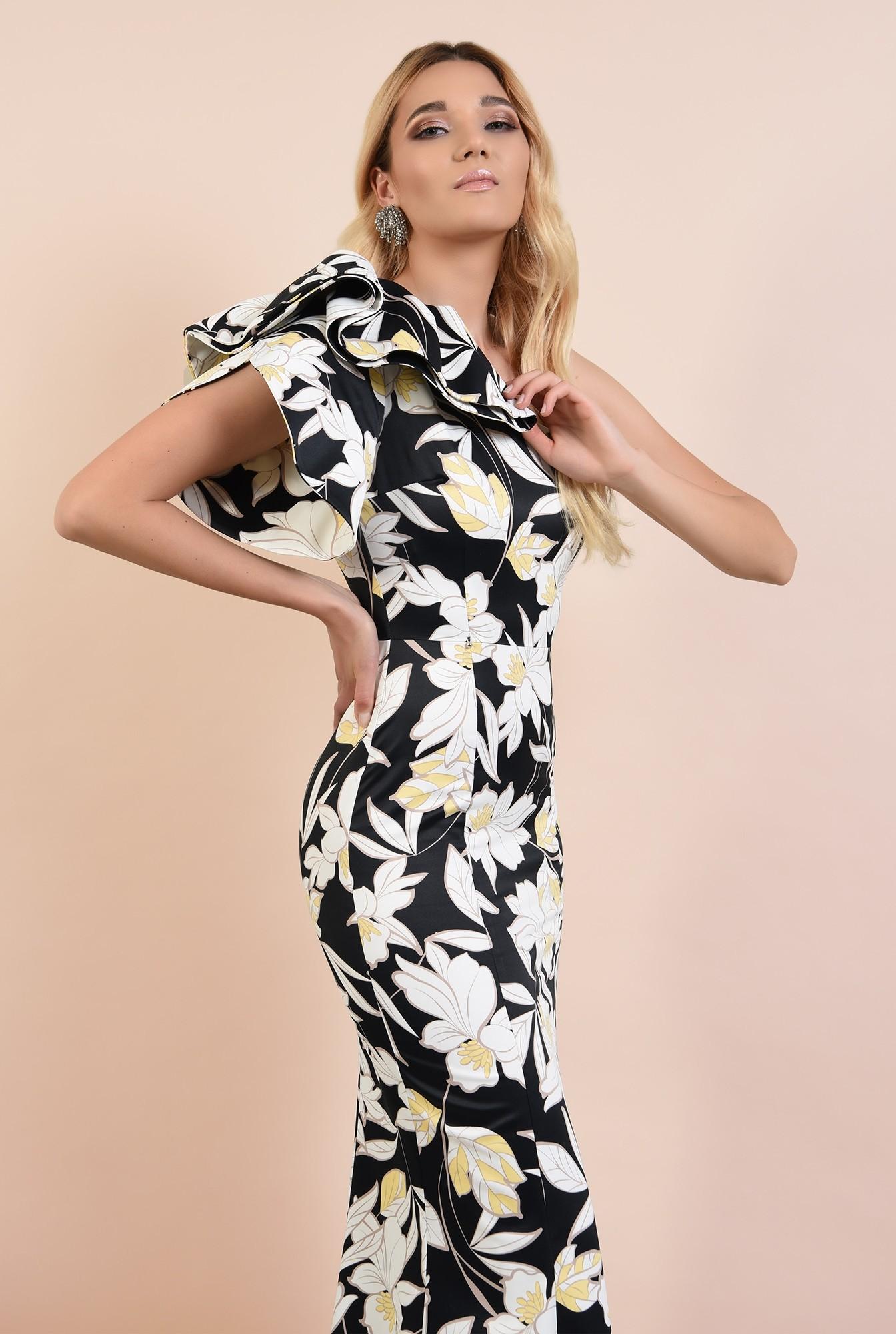 rochie lunga, de seara, cu flori, umar dezgolit, decolteu asimetric