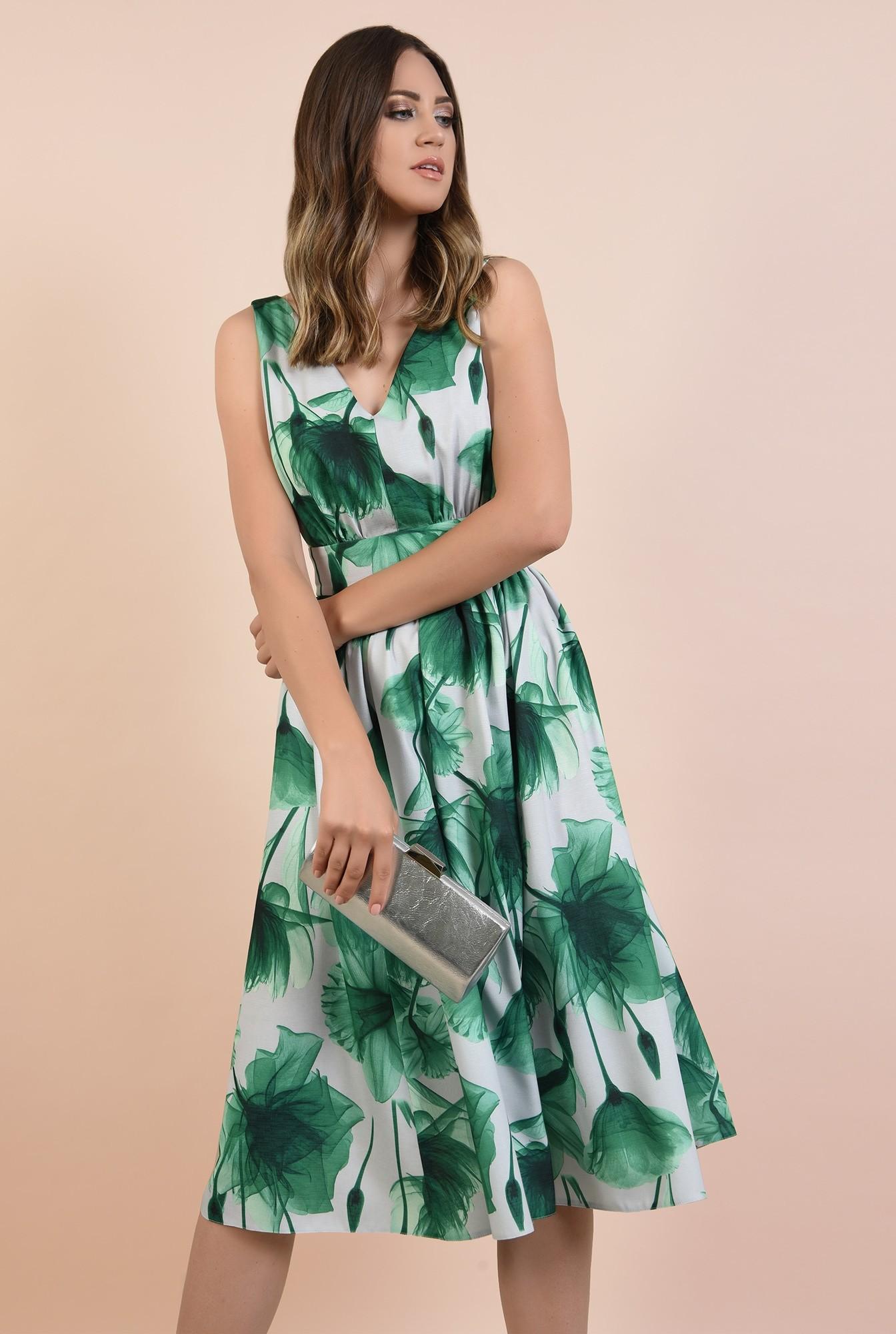 rochie eleganta, midi, clos, cu flori, fara maneci, Poema, talie cu betelie, spate decoltat