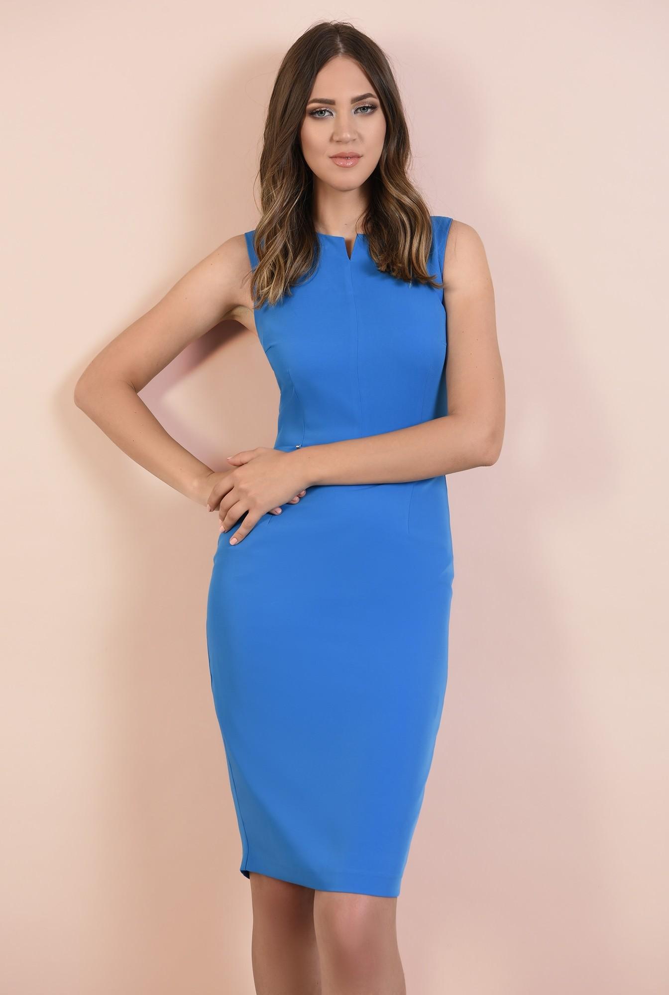 rochie office, albastra, creion, cambrata, decolteu cu fenta, cusatura in talie