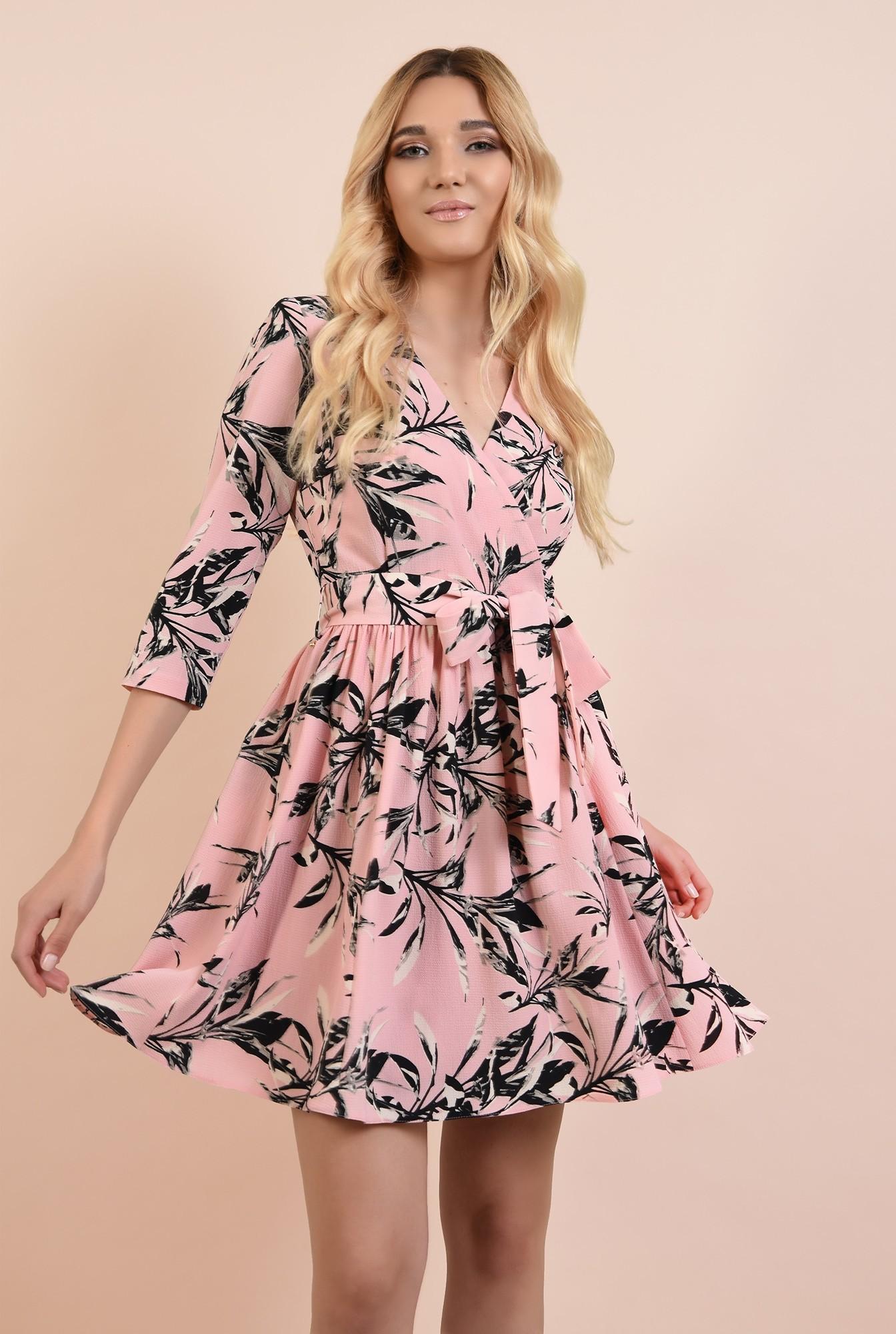 rochie casual, cu flori, Poema, cu cordon, clos, anchior petrecut