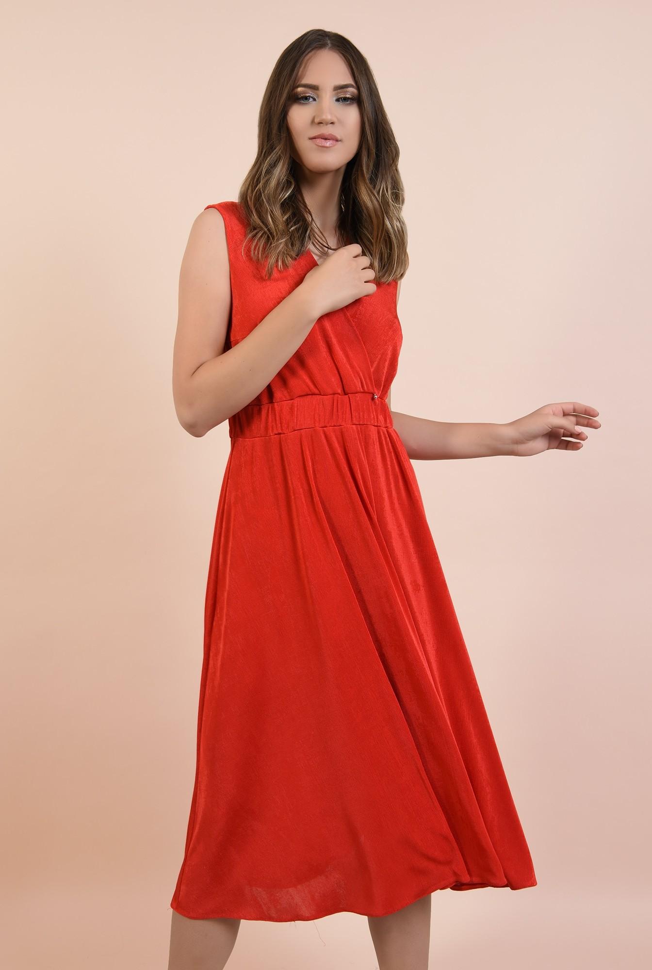 rochie de seara, rosie, midi, evazata, spate cu snur, decolteu anchior petrecut