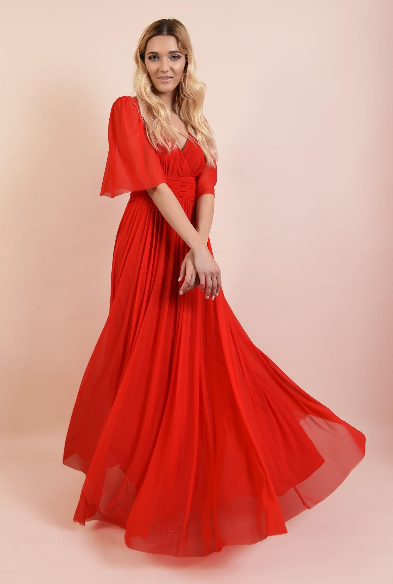 rochie rosie, lunga, de seara, anchior, evazata, maneci fluture, Poema